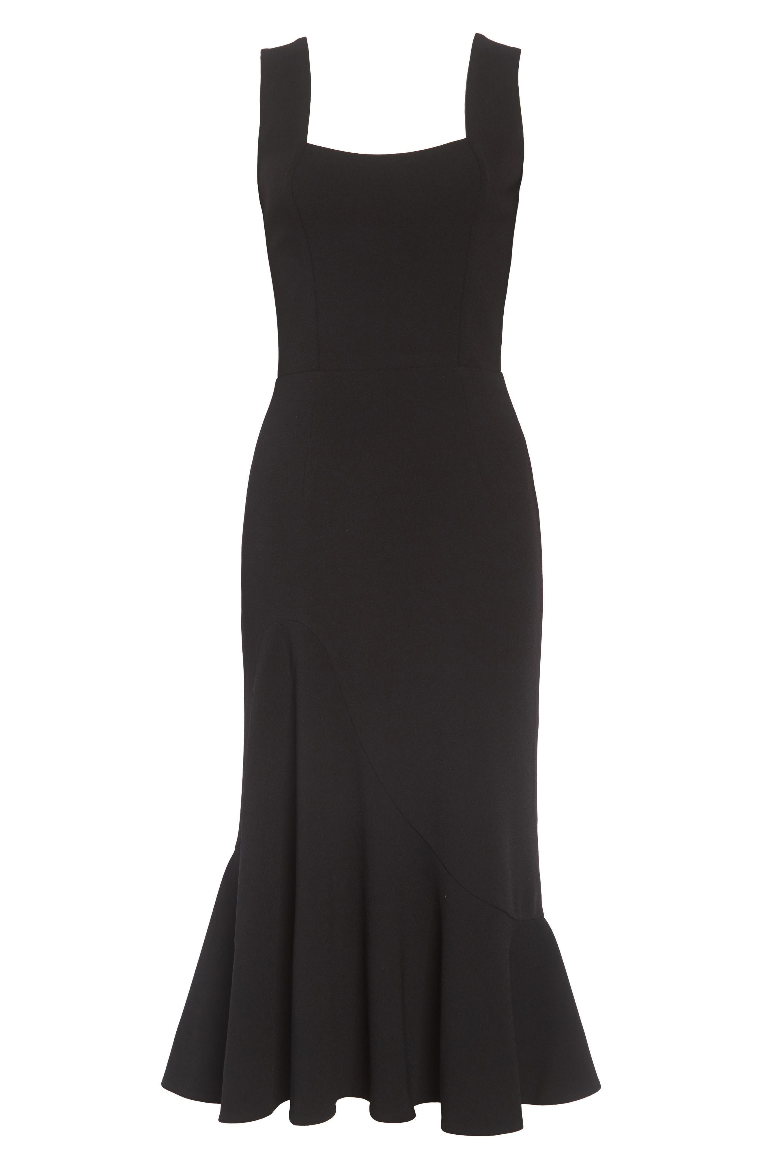 Monica Tea Length Trumpet Dress,                             Alternate thumbnail 4, color,                             BLACK