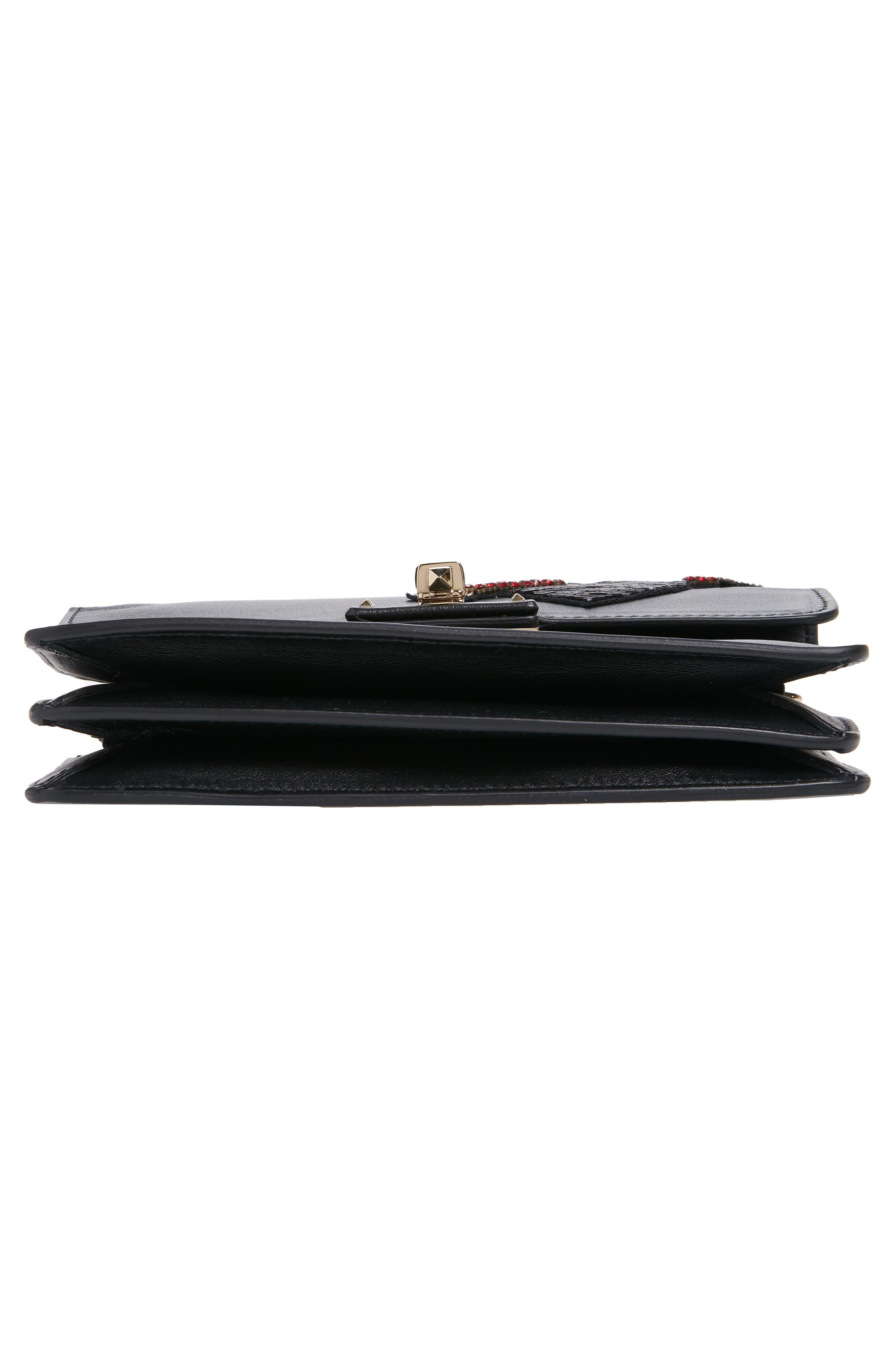 Very V Mini Leather Shoulder Bag,                             Alternate thumbnail 7, color,                             001