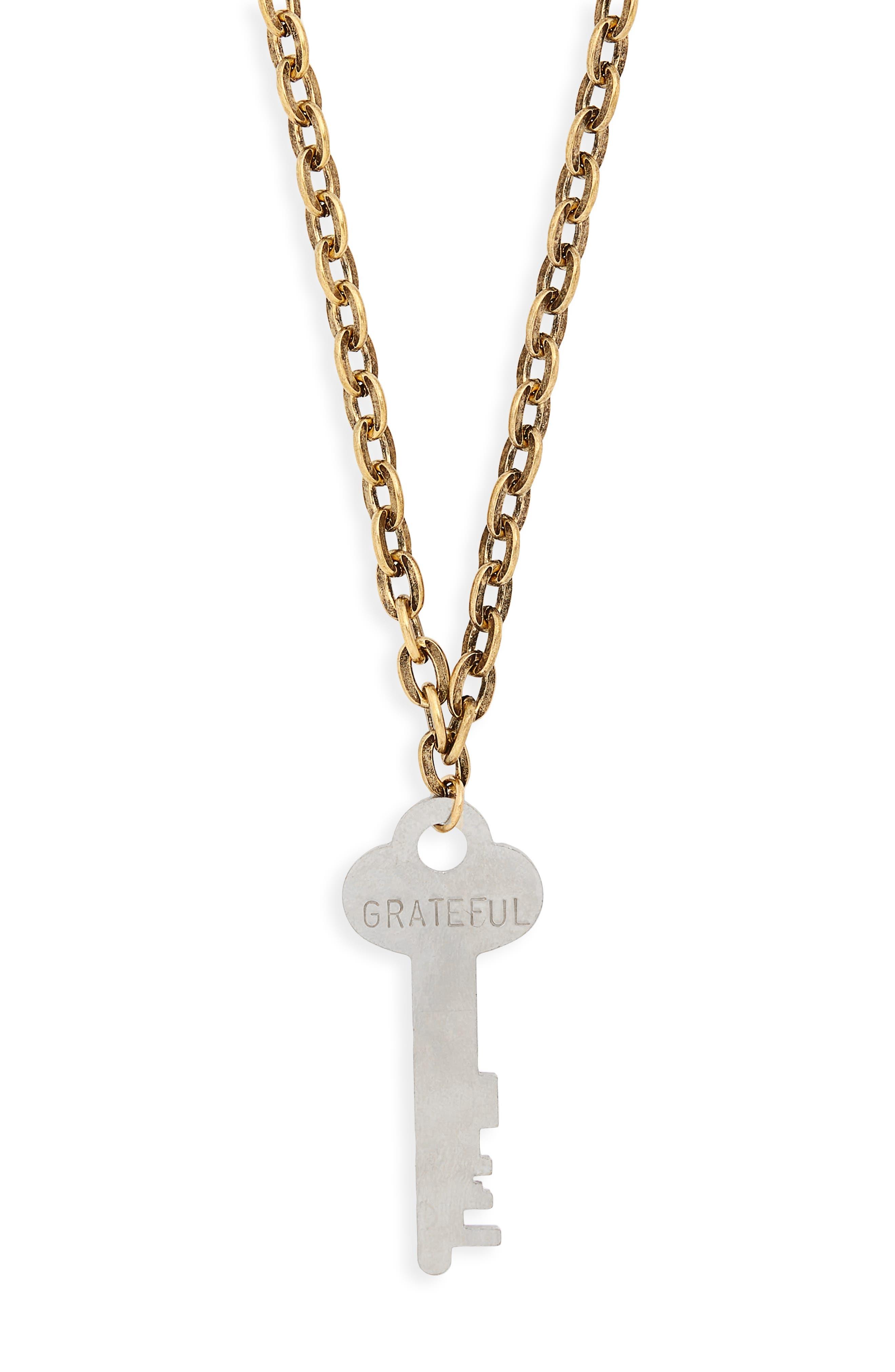 I Am Grateful Key Charm Necklace,                             Alternate thumbnail 3, color,                             GOLD/ SILVER KEY
