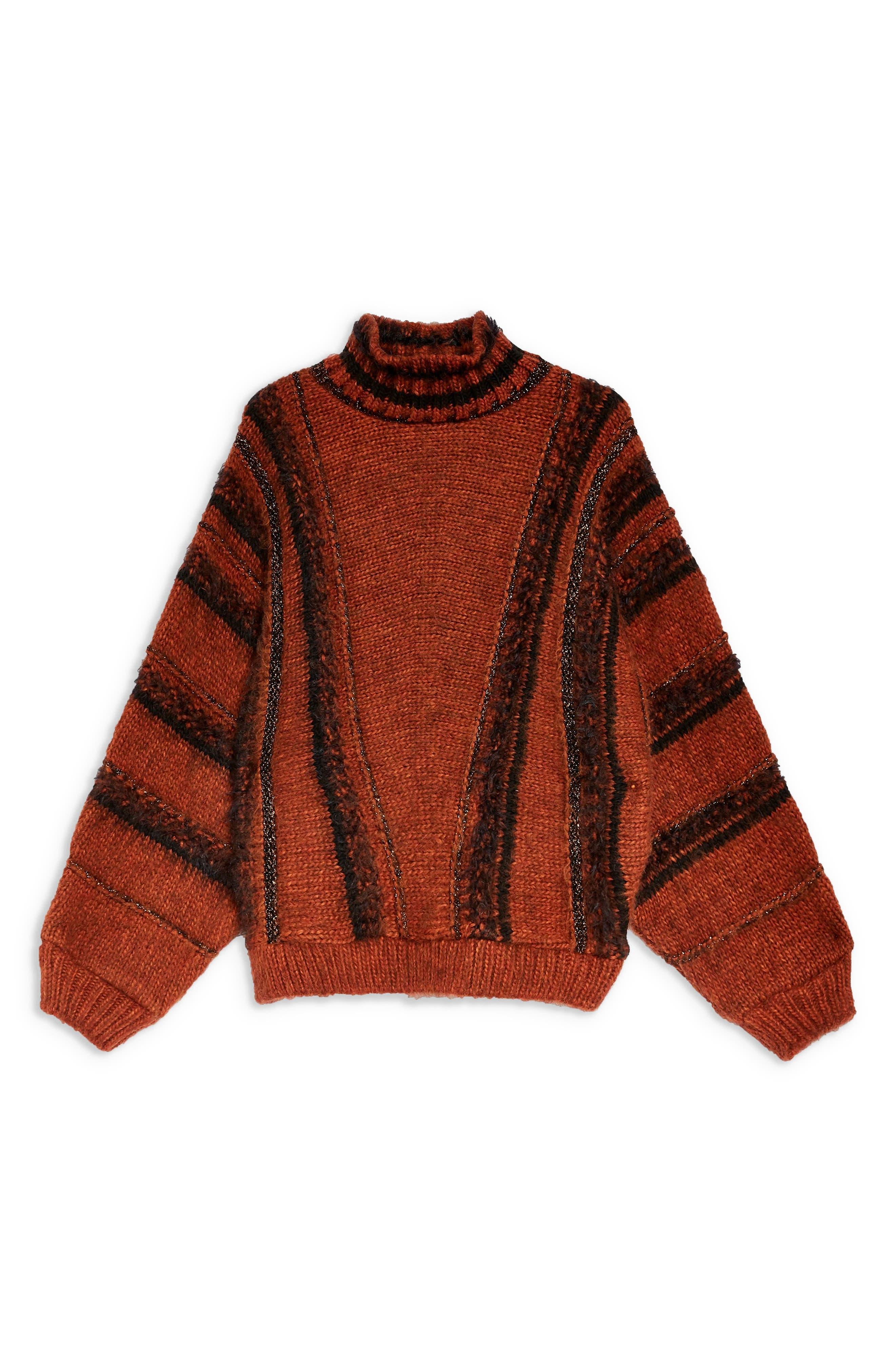 Metallic Stripe Sweater,                             Alternate thumbnail 4, color,                             BROWN MULTI