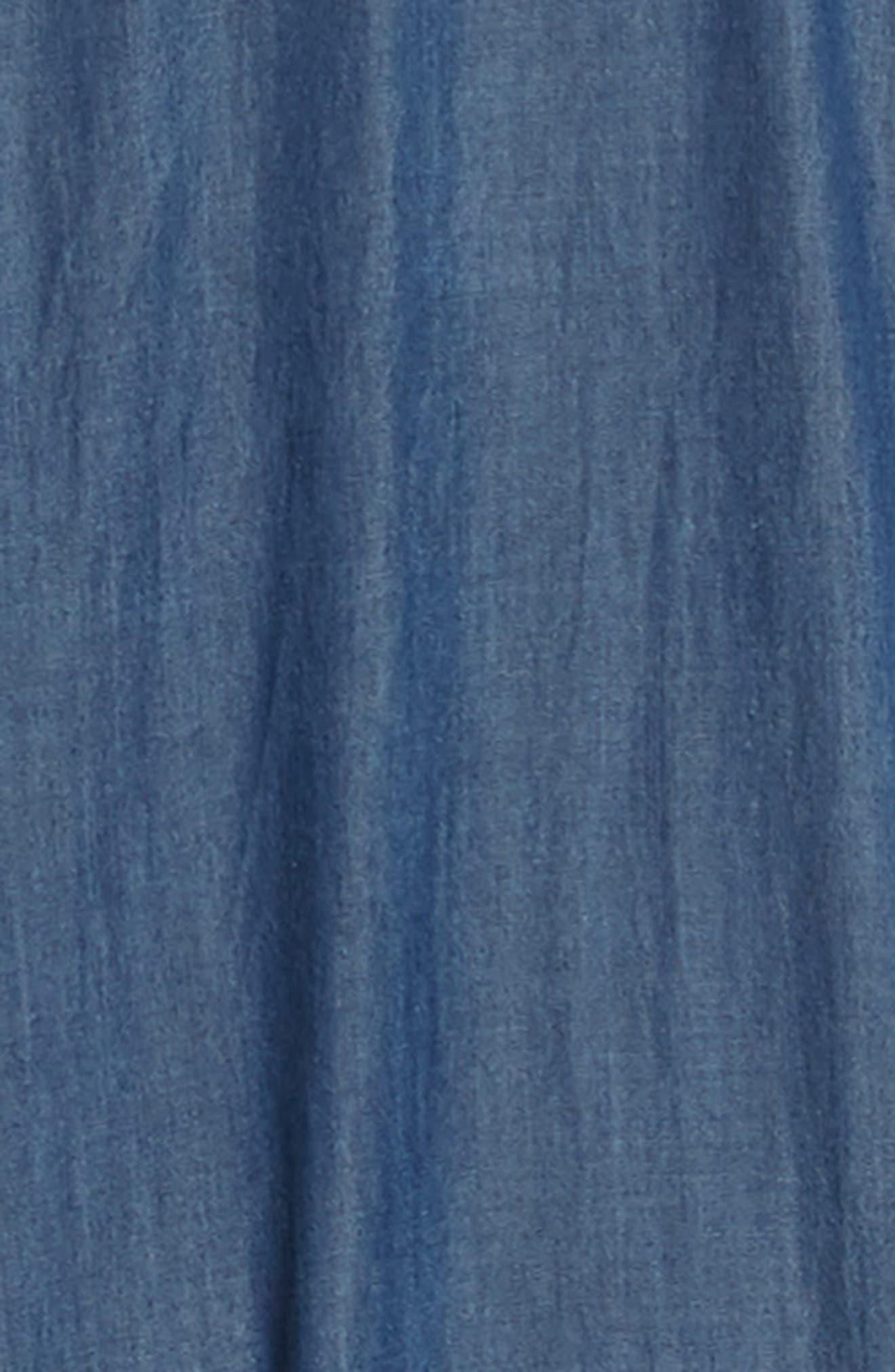Ruffle Sleeve Denim Jumpsuit,                             Alternate thumbnail 3, color,                             420