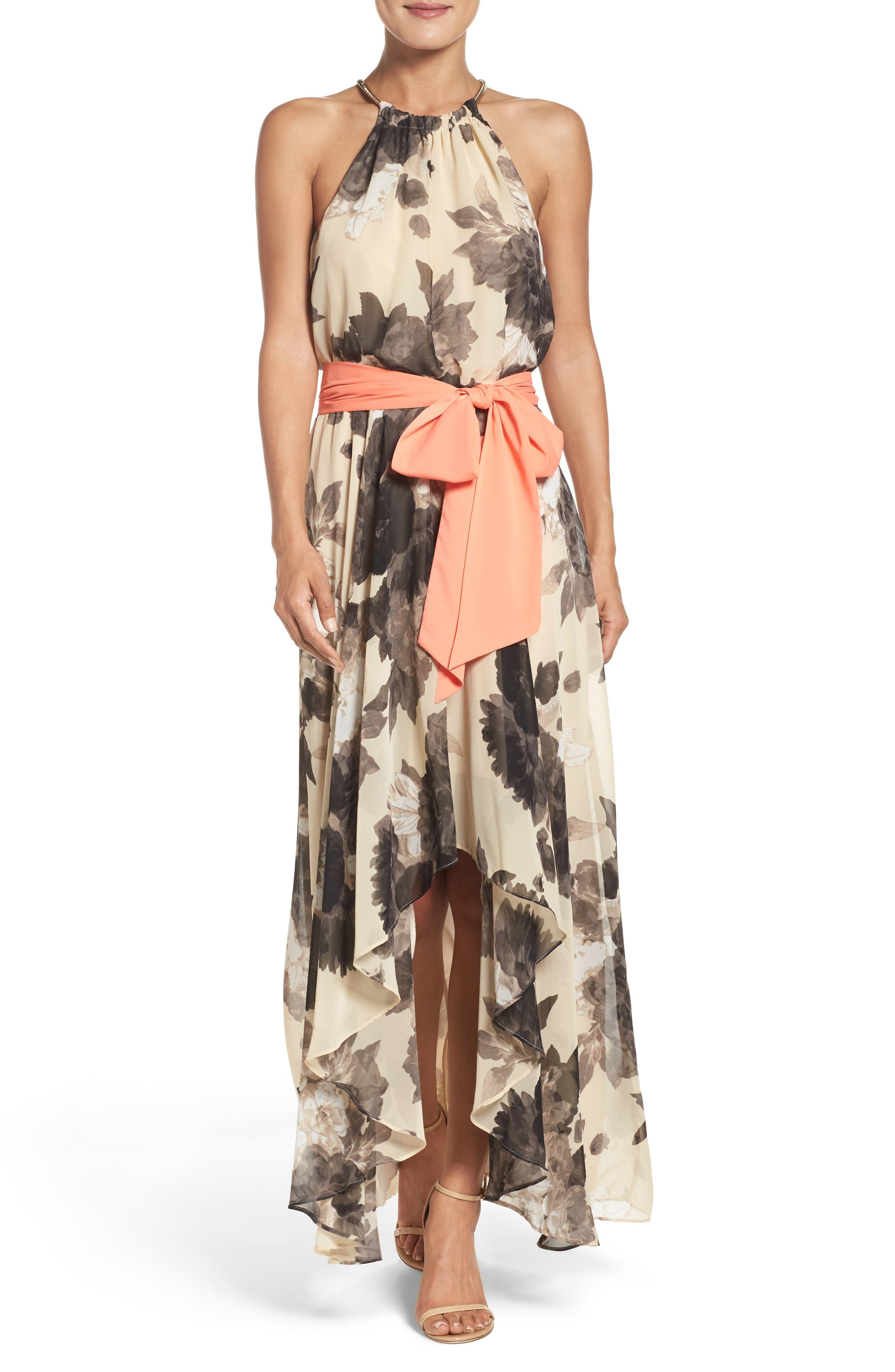 Floral Print Chiffon Maxi Dress,                             Alternate thumbnail 7, color,                             TAUPE/ BLACK