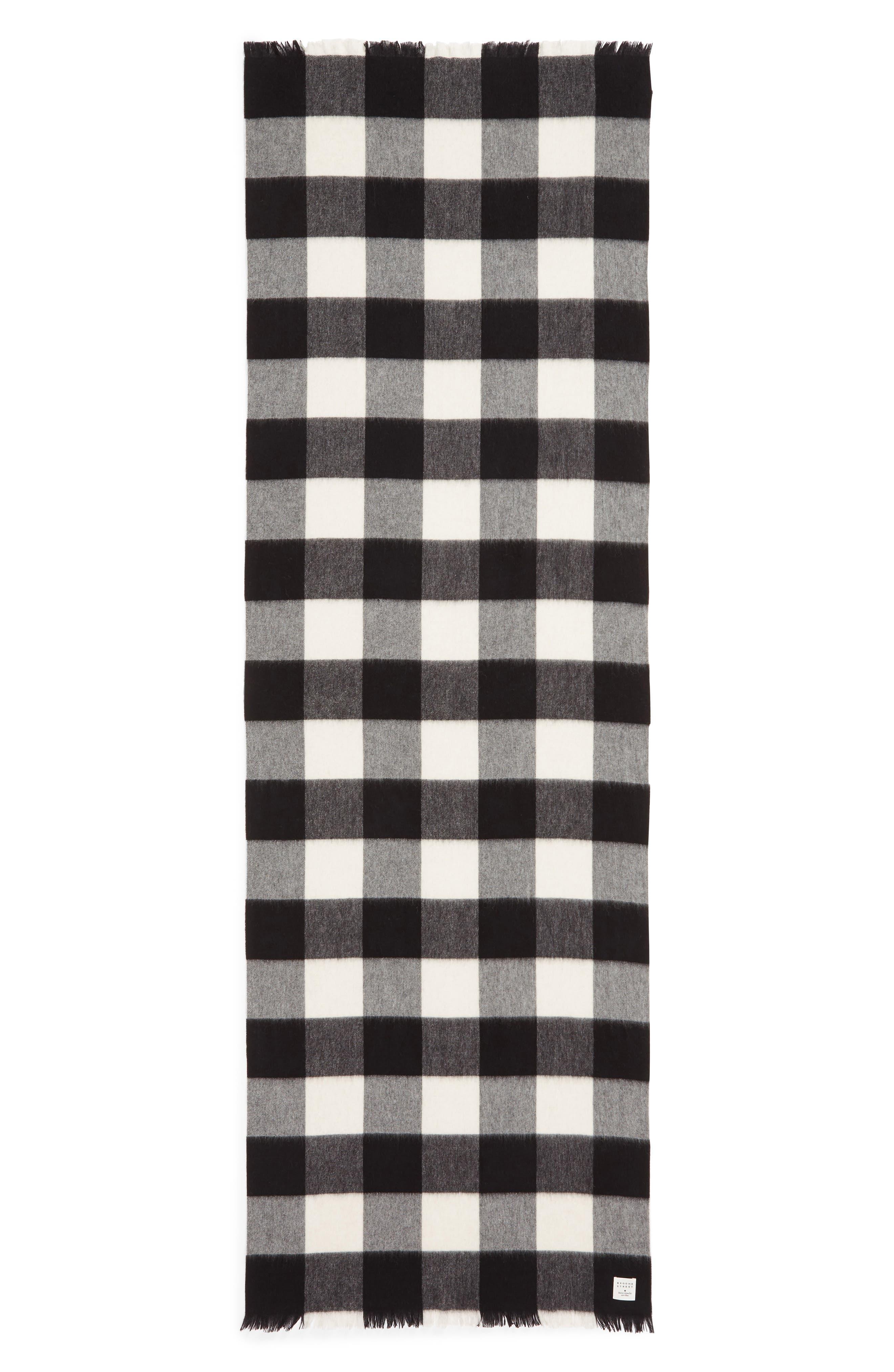 mega check wool scarf,                             Alternate thumbnail 3, color,                             CREAM/ BLACK