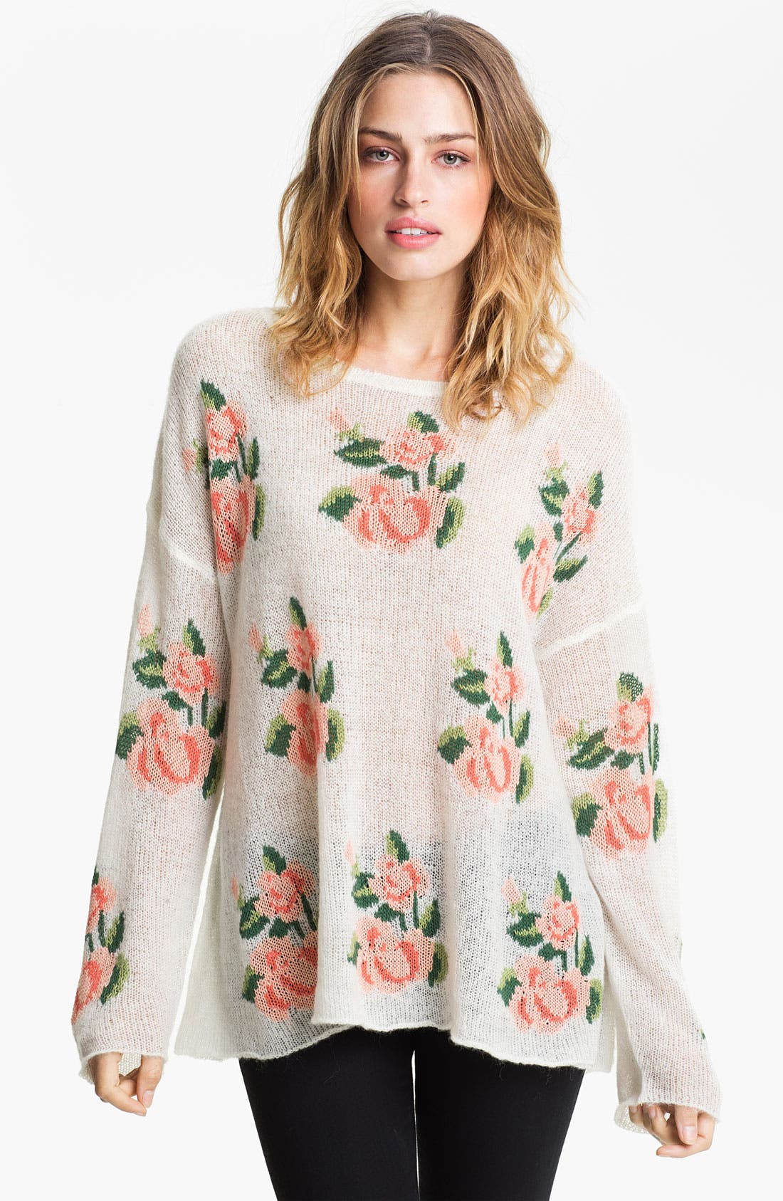 Rose Slouchy Sweater,                             Main thumbnail 1, color,                             101