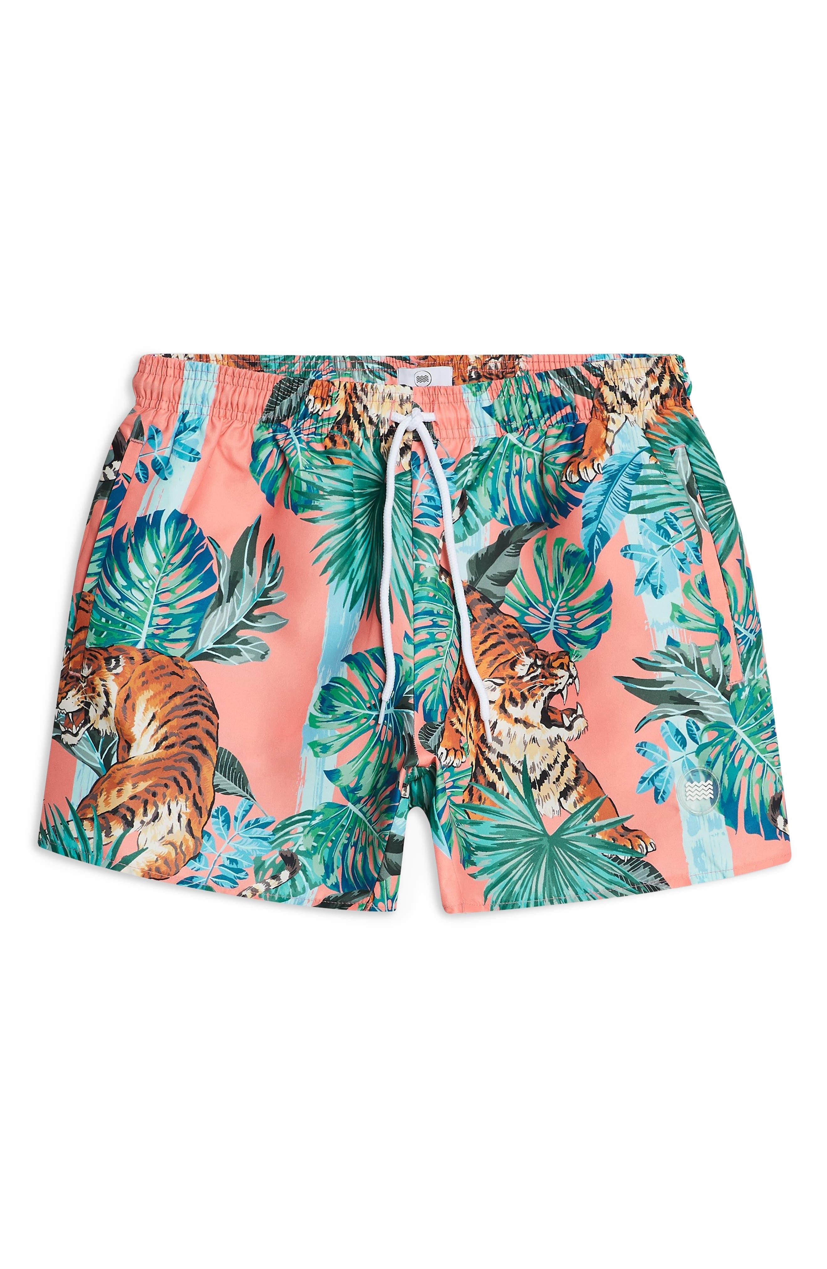 Tiger Print Swim Shorts,                             Main thumbnail 1, color,                             PINK MULTI