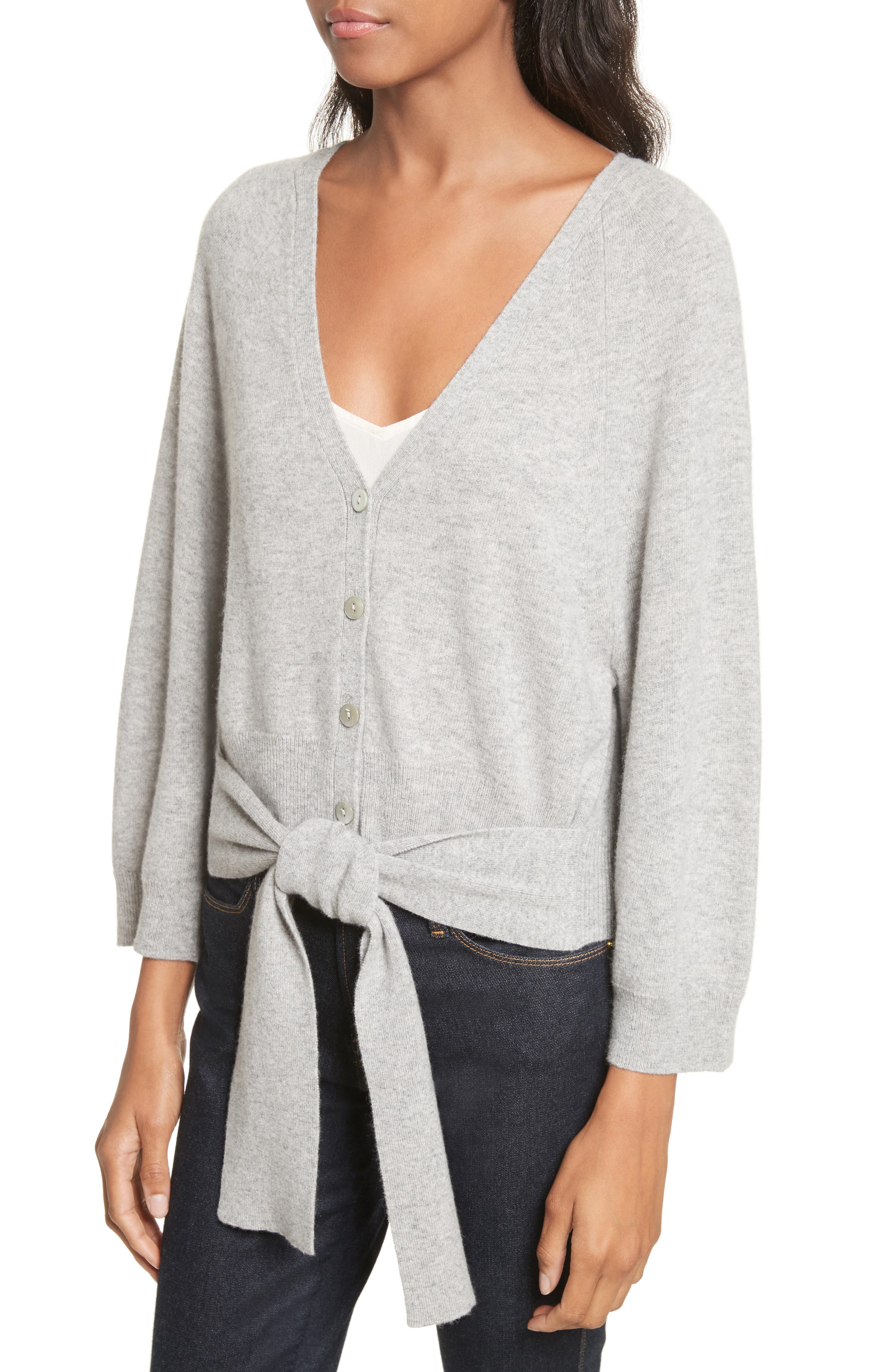 Wide Sleeve Tie Front Button Cardigan,                             Alternate thumbnail 4, color,                             050