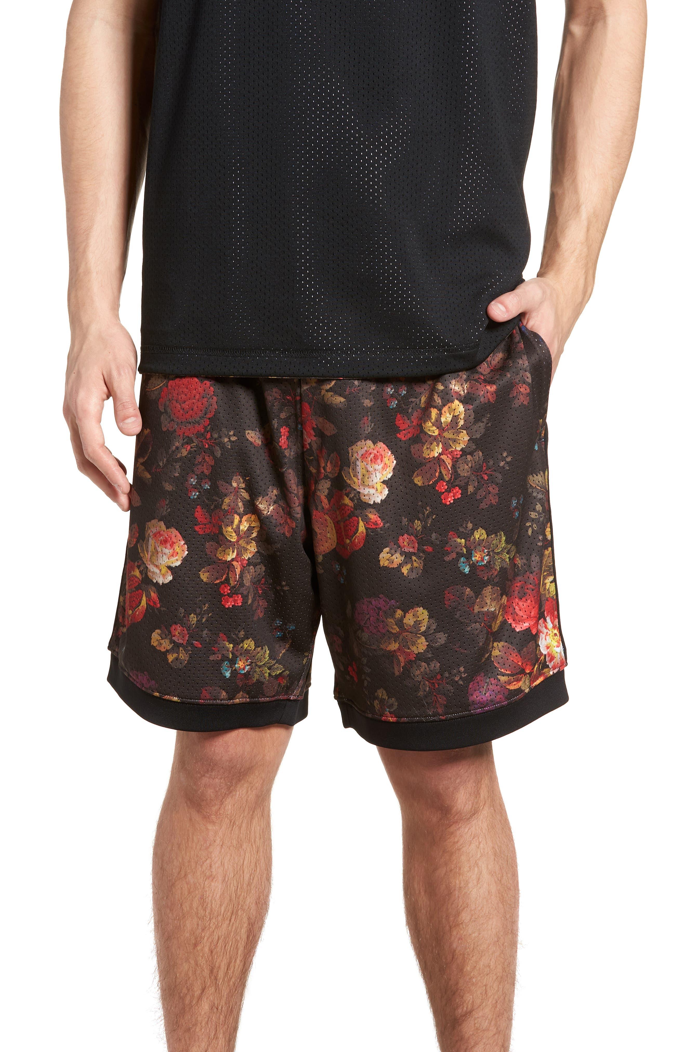 Dry Floral Shorts,                             Main thumbnail 1, color,                             BLACK/ WHITE
