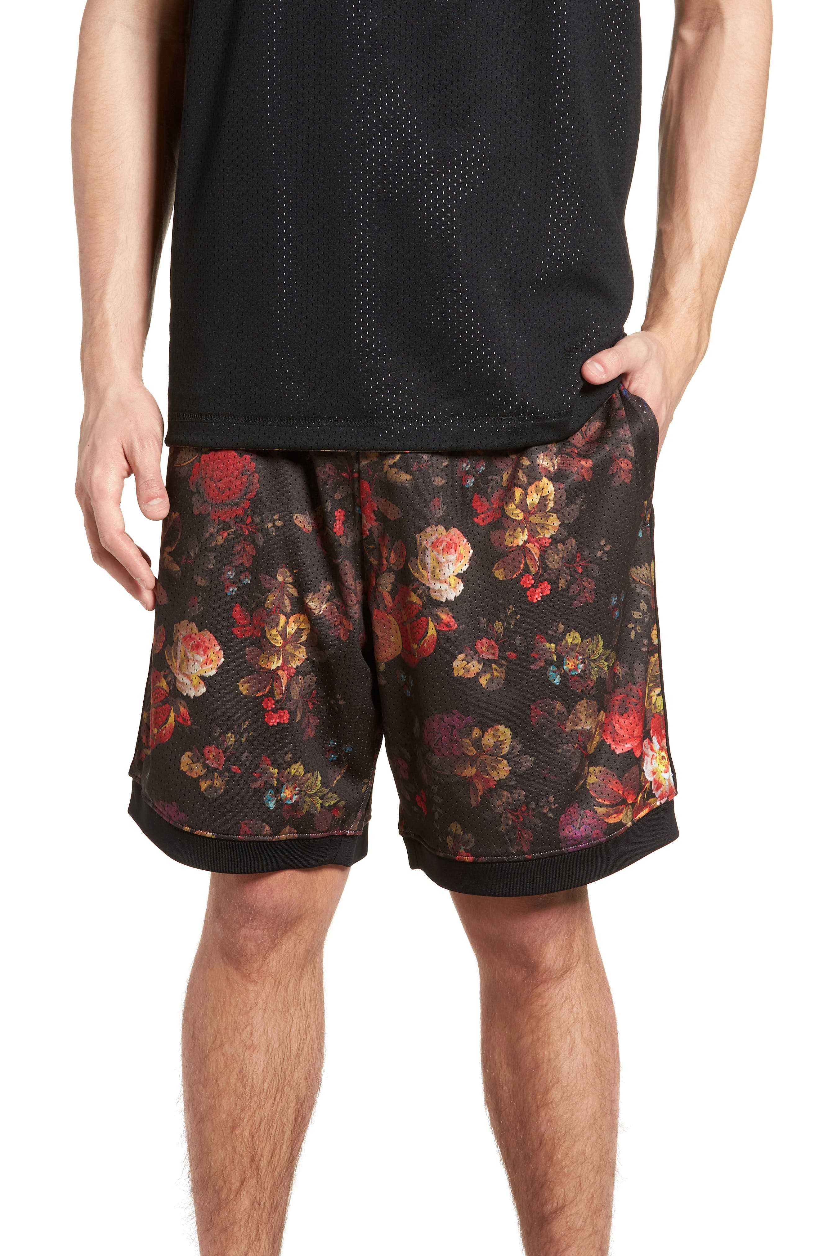 Dry Floral Shorts,                         Main,                         color, BLACK/ WHITE