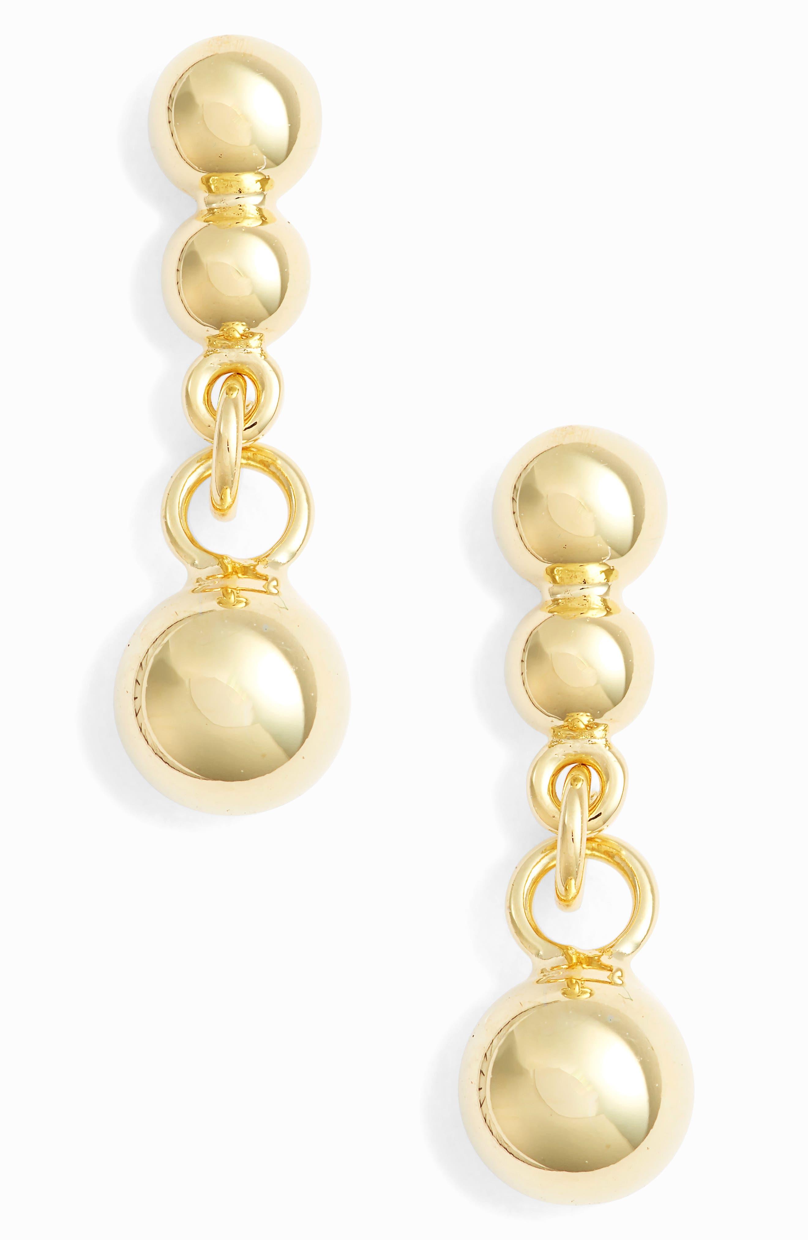 Small Beaded Drop Earrings, Main, color, GOLD