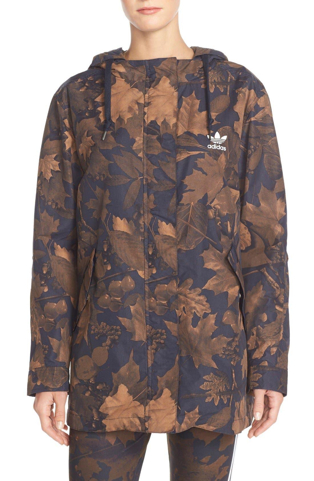 Originals Leaf Camouflage Print Parka,                             Main thumbnail 1, color,                             001