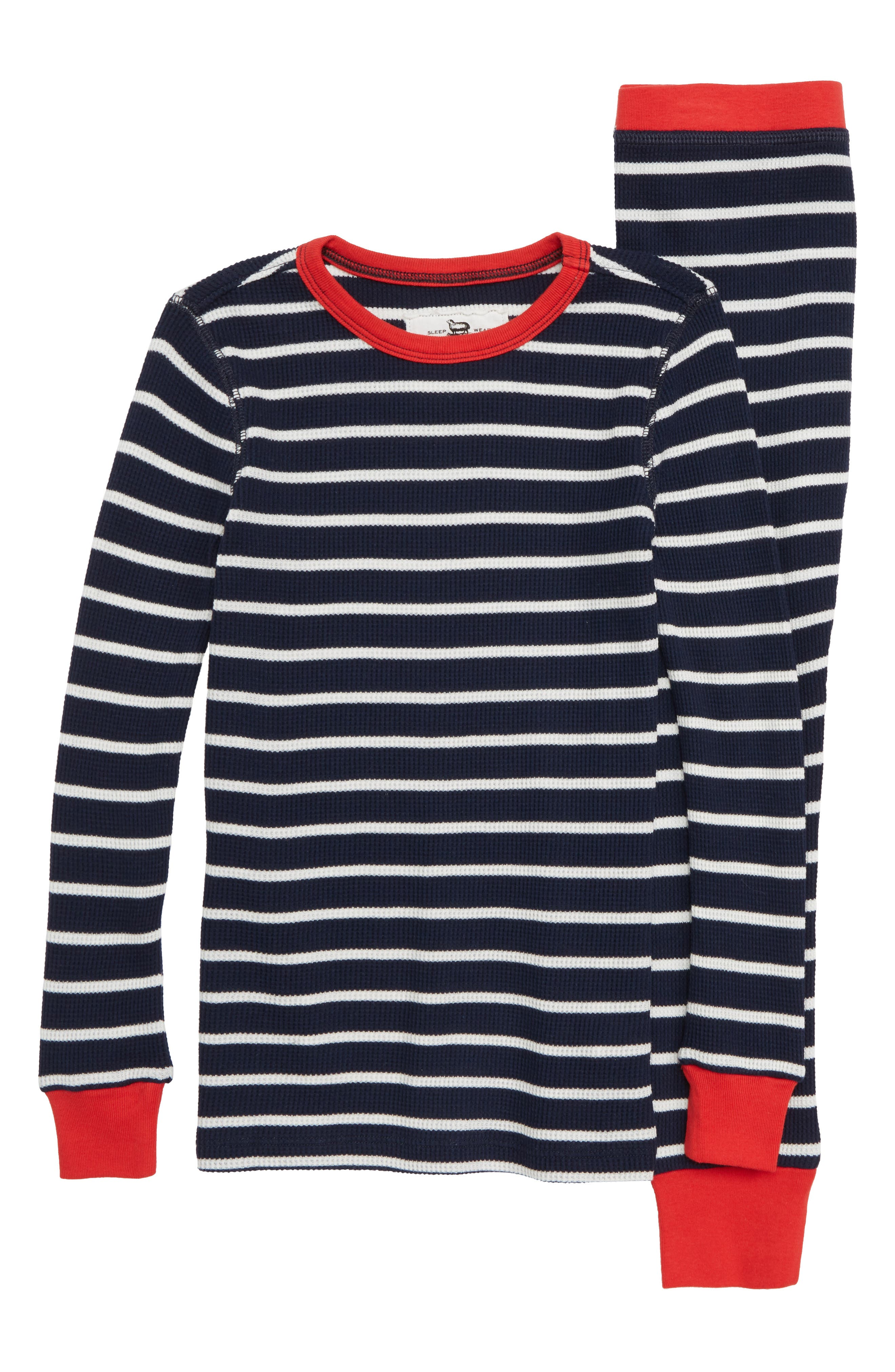 Stripe Fitted Two-Piece Pajamas,                         Main,                         color, NAVY IVORY