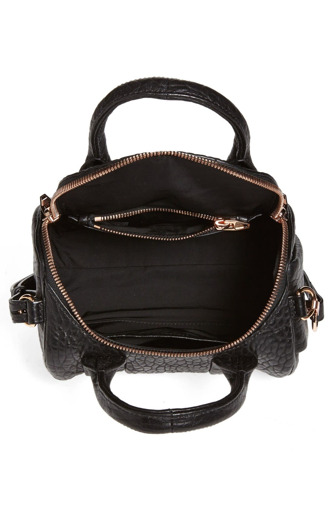 ALEXANDER WANG,                             'Mini Rockie - Rose Gold' Leather Crossbody Satchel,                             Alternate thumbnail 5, color,                             BLACK