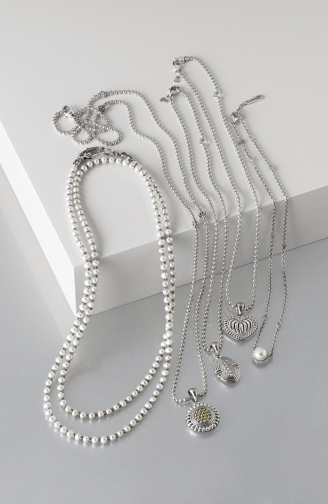 'Luna' Long Micro Bead & Pearl Necklace,                             Alternate thumbnail 5, color,                             SILVER/ PEARL