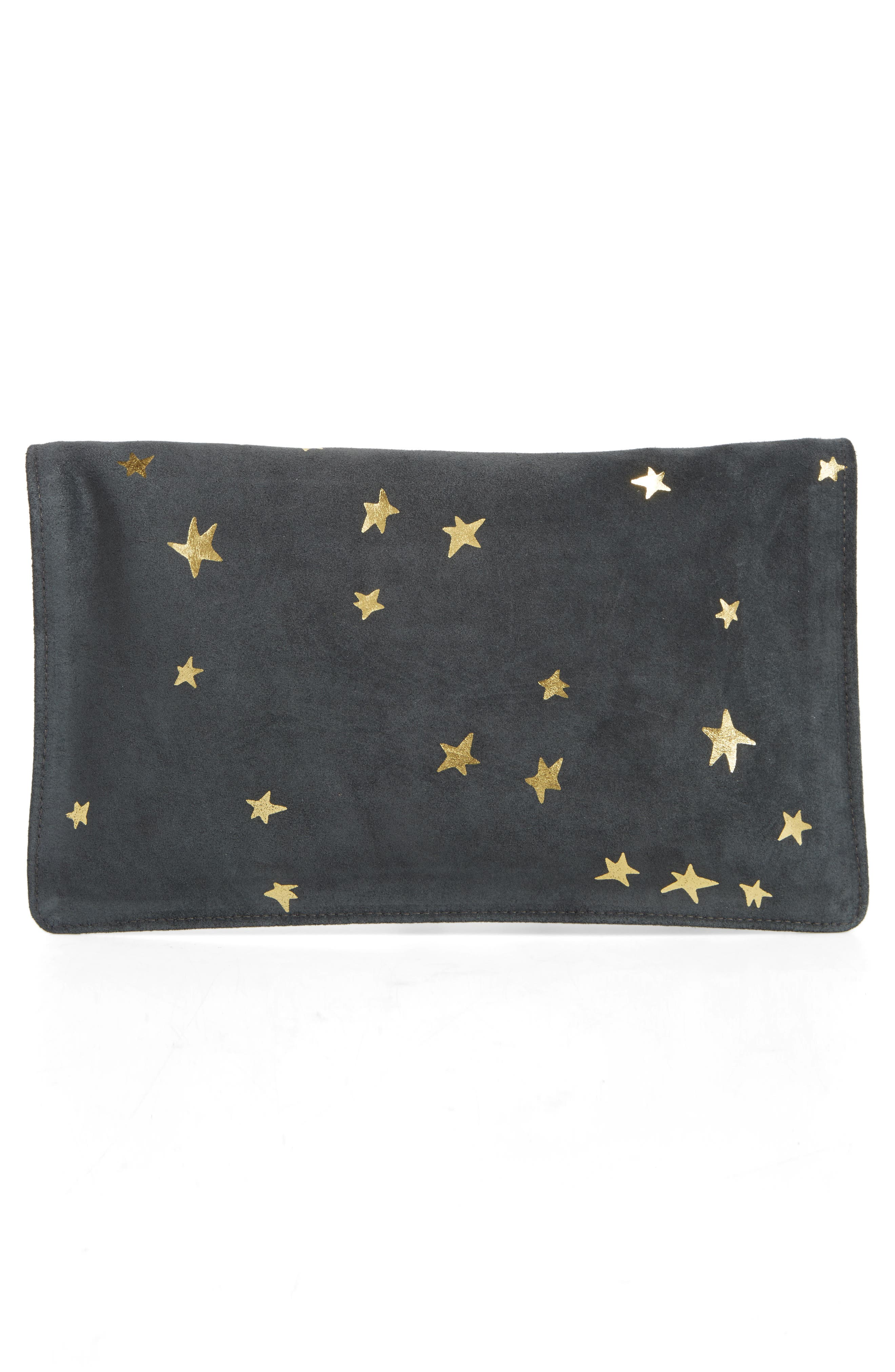 Margot Star Print Foldover Suede Clutch,                             Alternate thumbnail 3, color,                             020