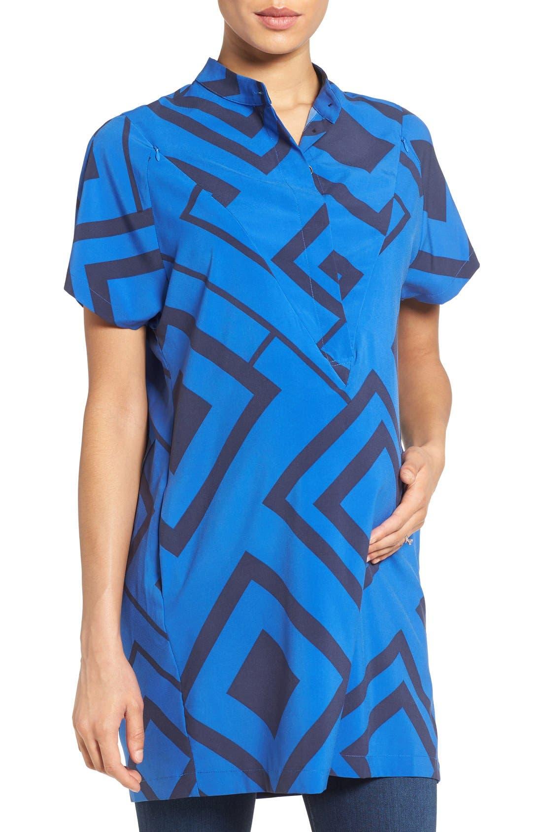 'Erin' Print Maternity/Nursing Shirtdress,                             Main thumbnail 1, color,                             BLUE DIAMOND