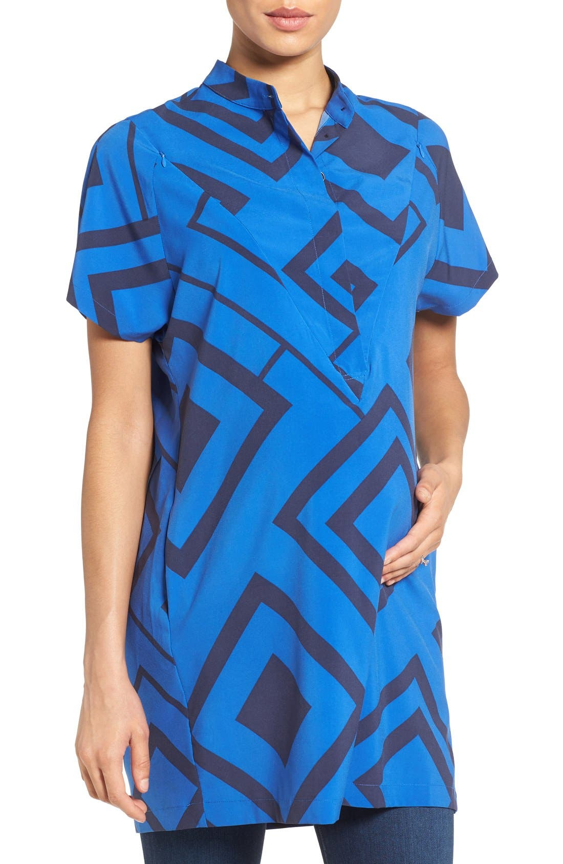 'Erin' Print Maternity/Nursing Shirtdress,                         Main,                         color, BLUE DIAMOND