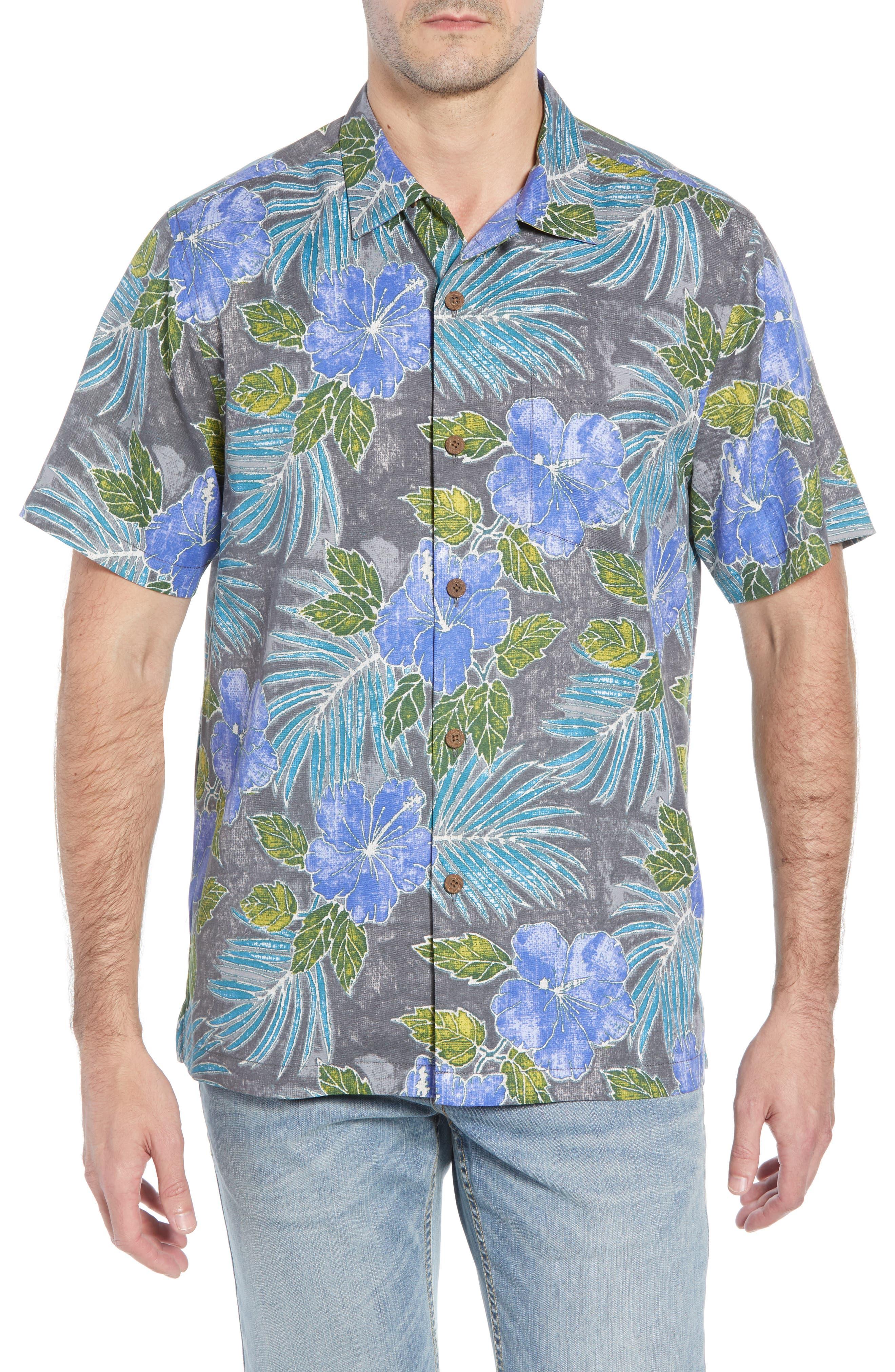 Hibiscus Cove Short Sleeve Silk Blend Sport Shirt,                             Main thumbnail 1, color,                             ONYX