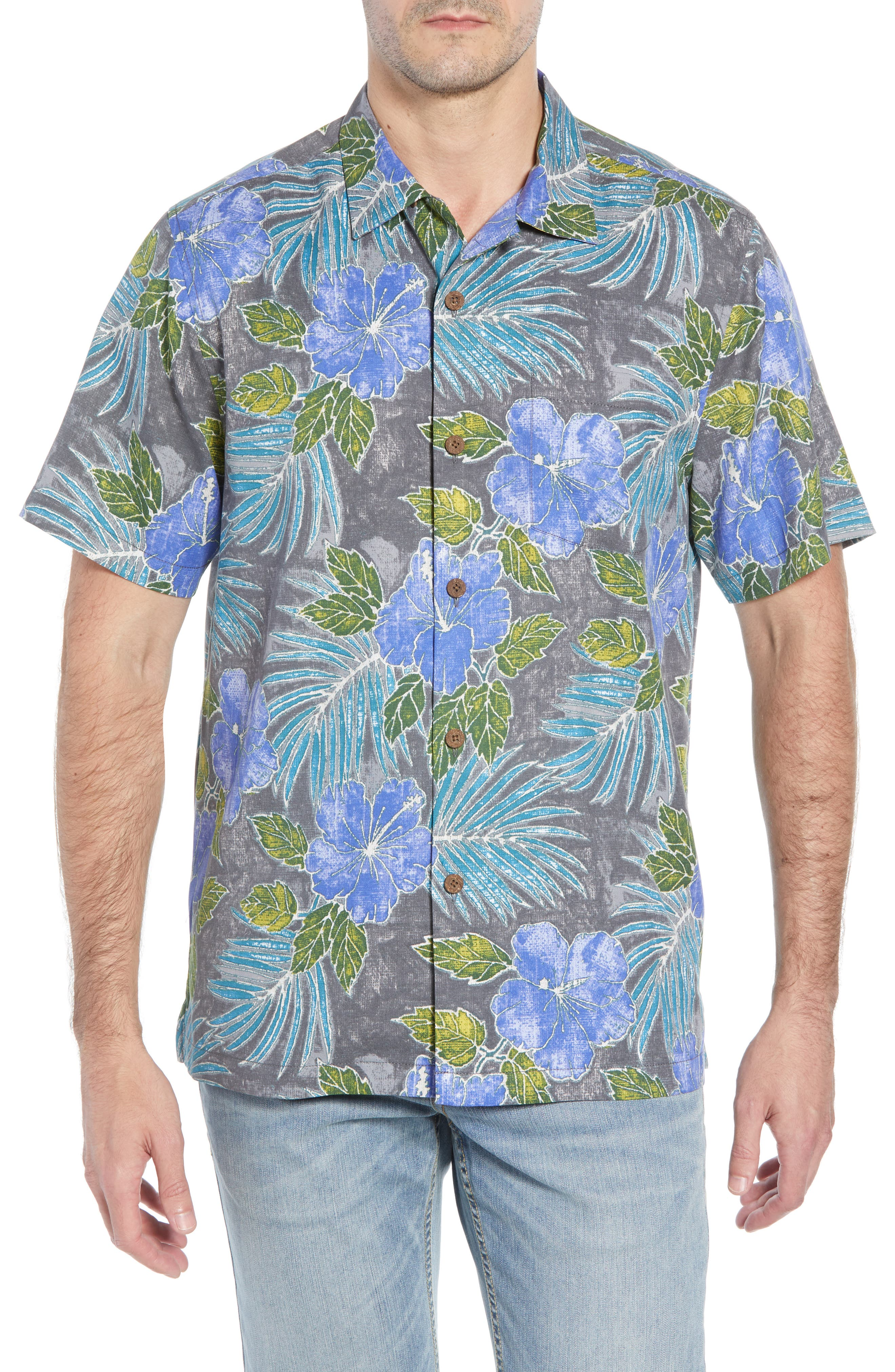 Hibiscus Cove Short Sleeve Silk Blend Sport Shirt,                         Main,                         color, ONYX