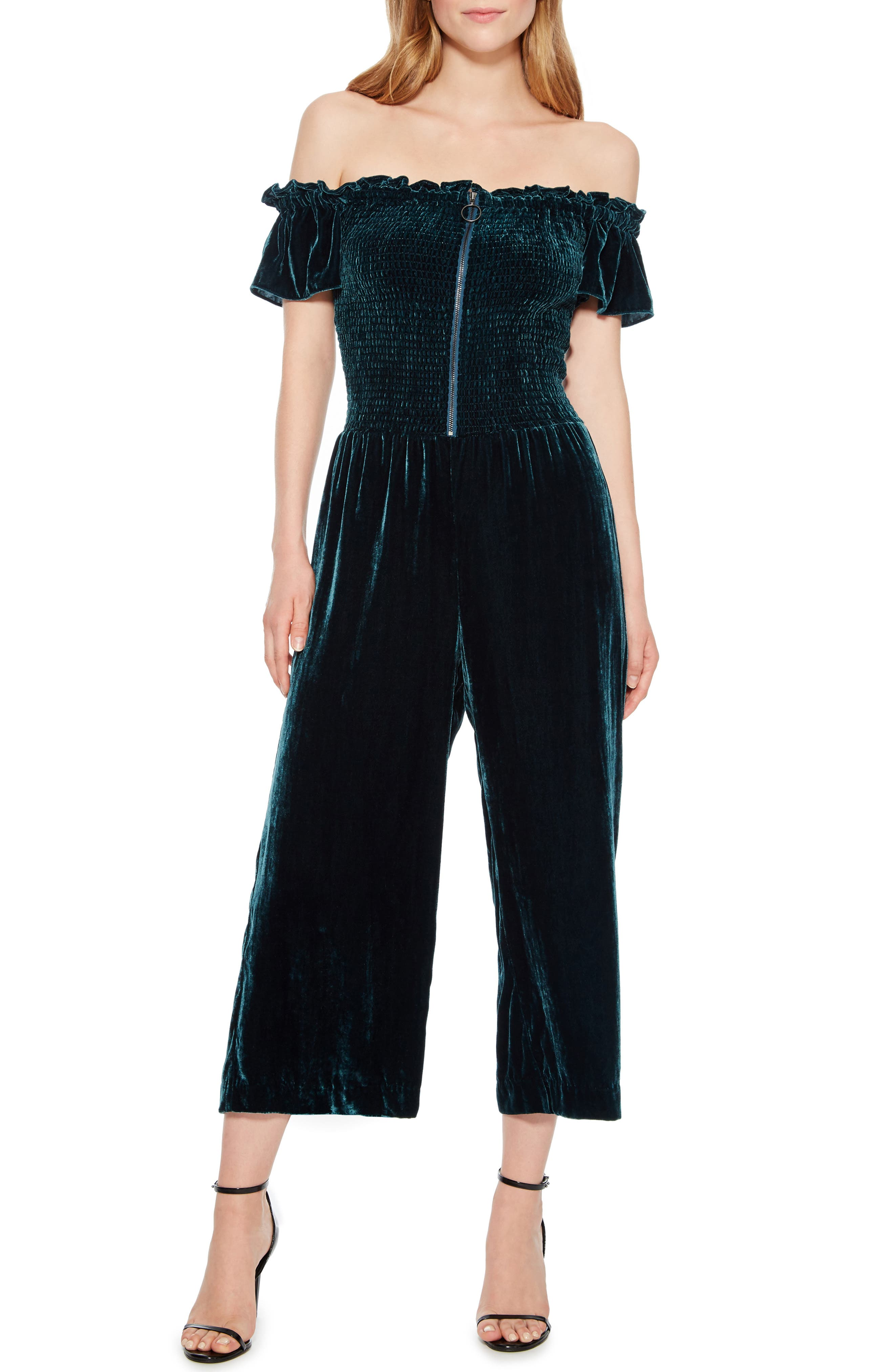 Londyn Off the Shoulder Jumpsuit,                             Main thumbnail 1, color,                             EVERGLADE
