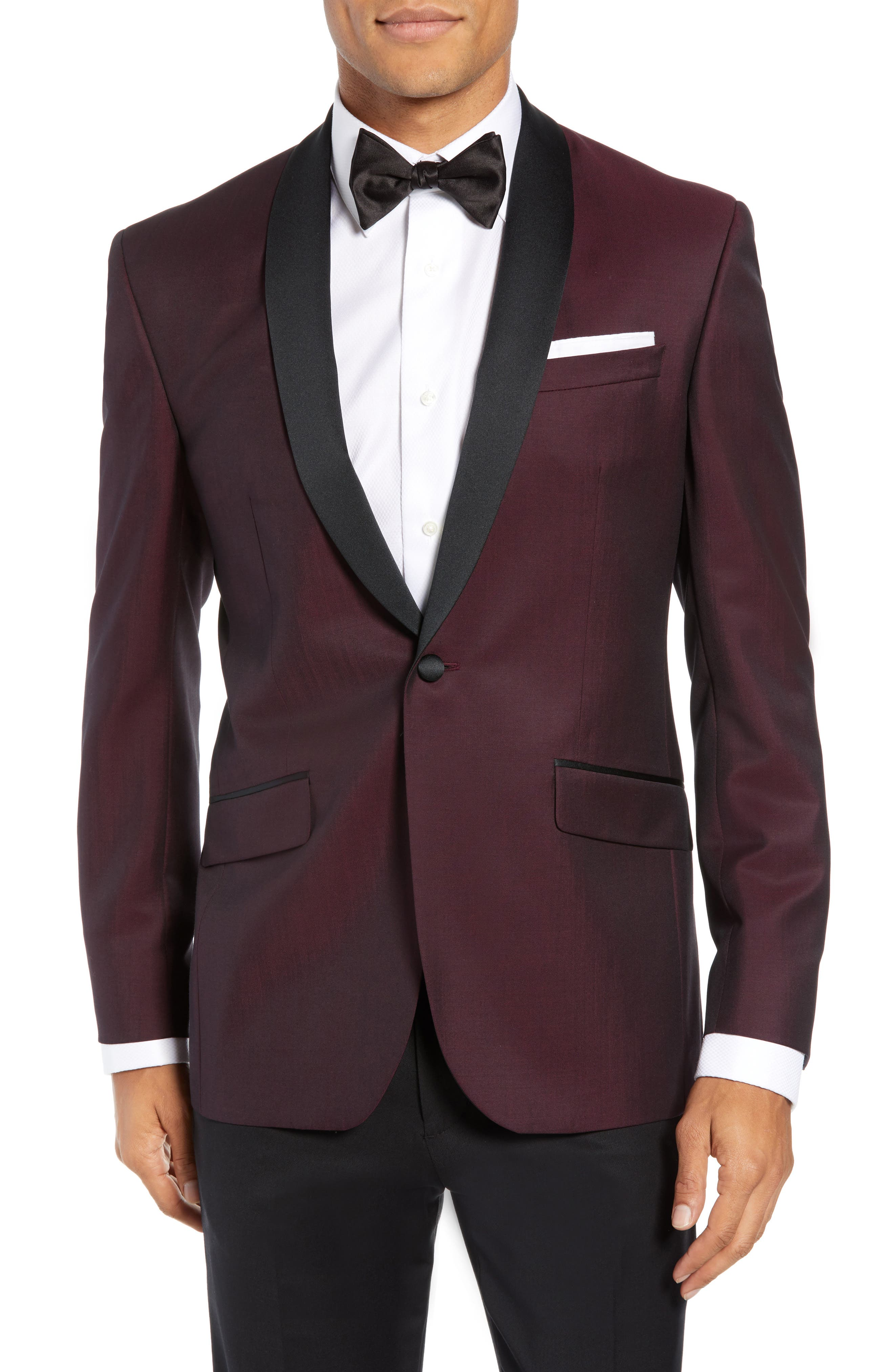 Josh Trim Fit Wool & Mohair Dinner Jacket, Main, color, BERRY