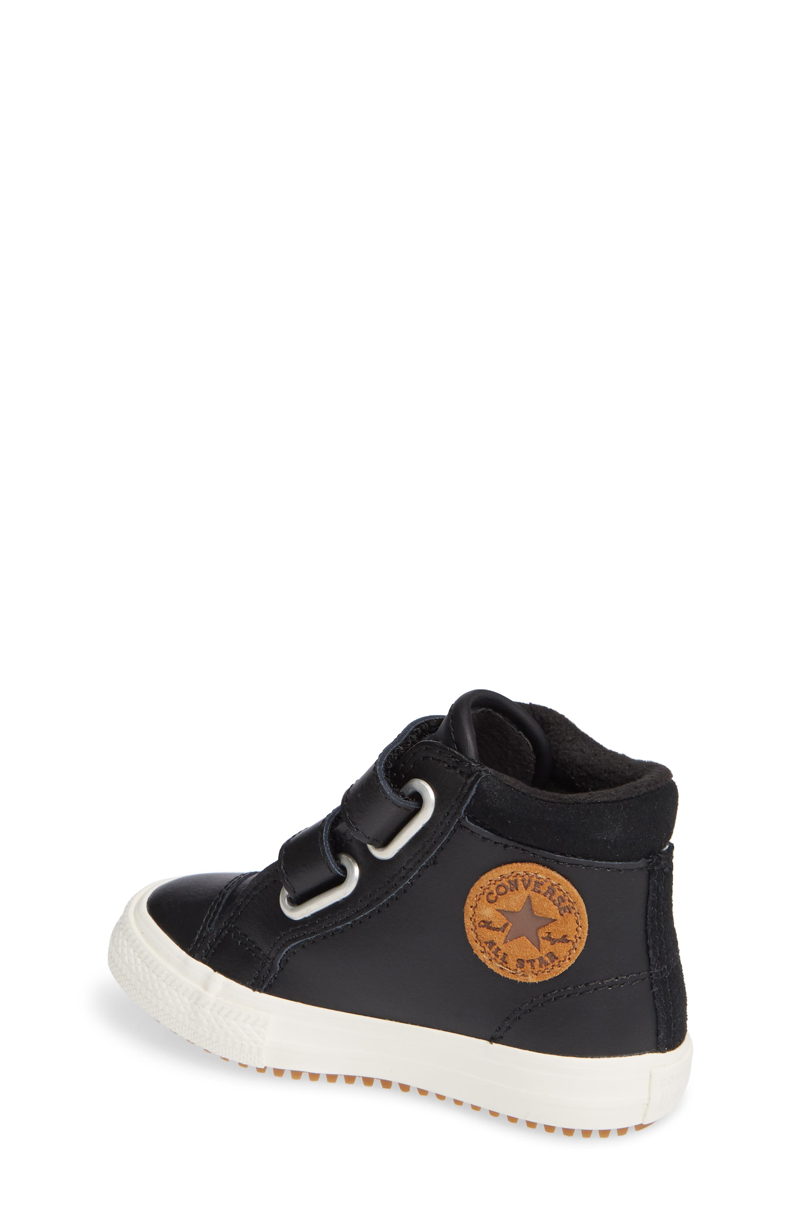 Chuck Taylor<sup>®</sup> All Star<sup>®</sup> 2V Leather High TopSneaker,                             Alternate thumbnail 2, color,                             BLACK