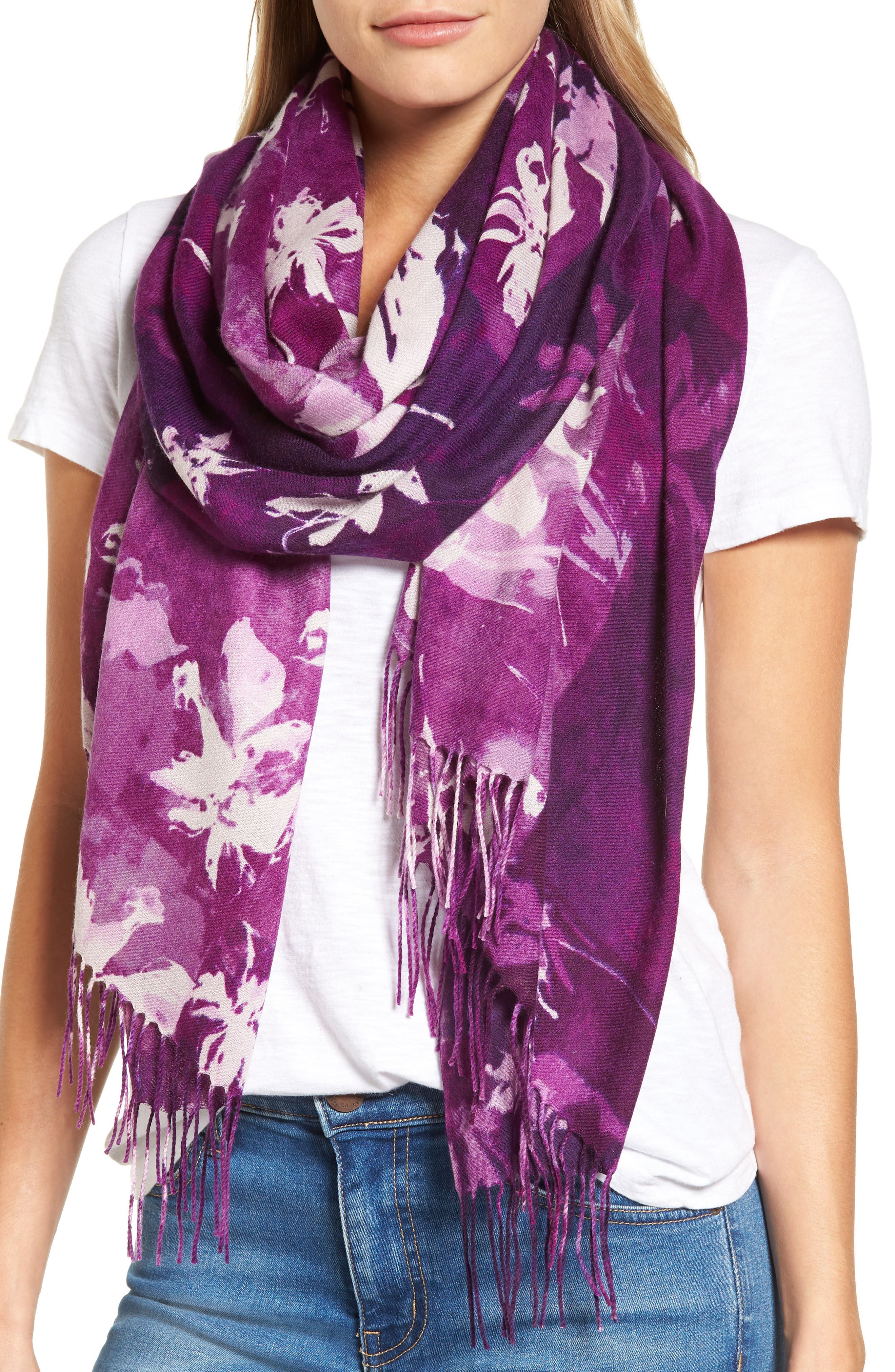 Solar Patchwork Tissue Wool & Cashmere Scarf,                             Main thumbnail 3, color,