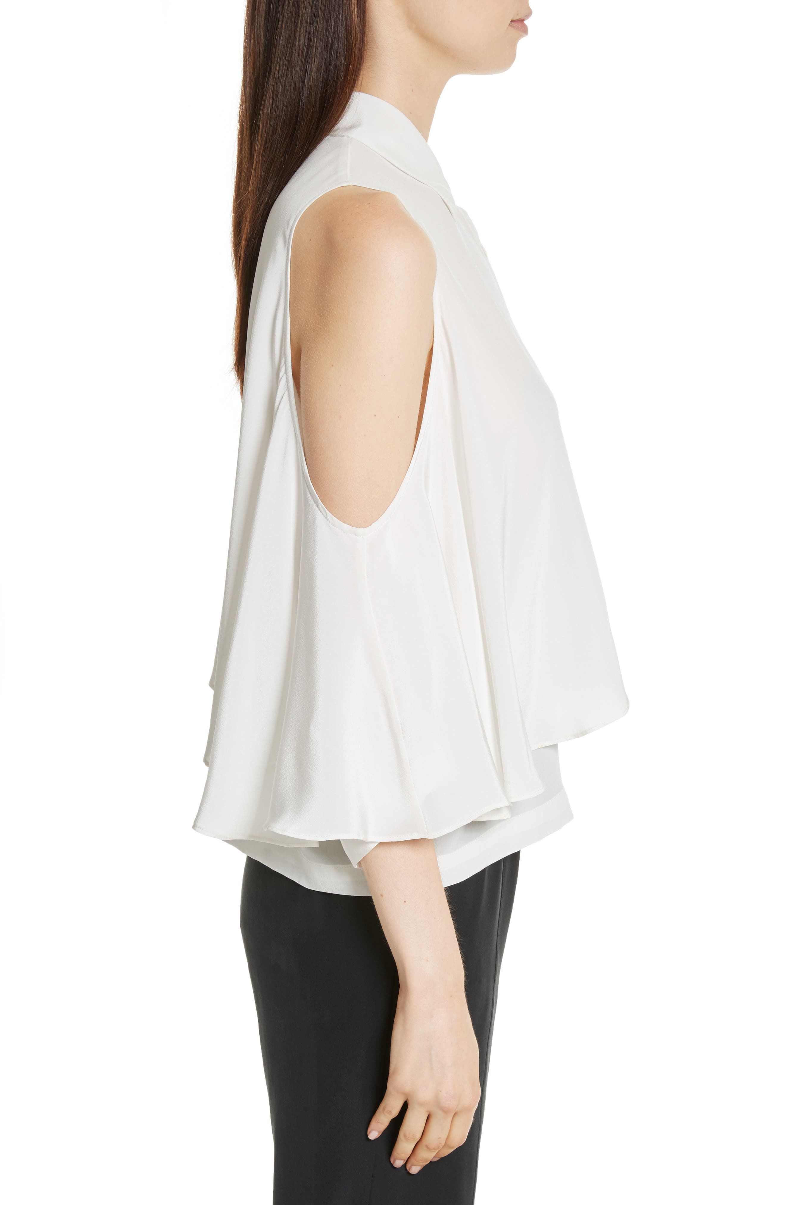 Drape Silk Cold Shoulder Top,                             Alternate thumbnail 3, color,                             900