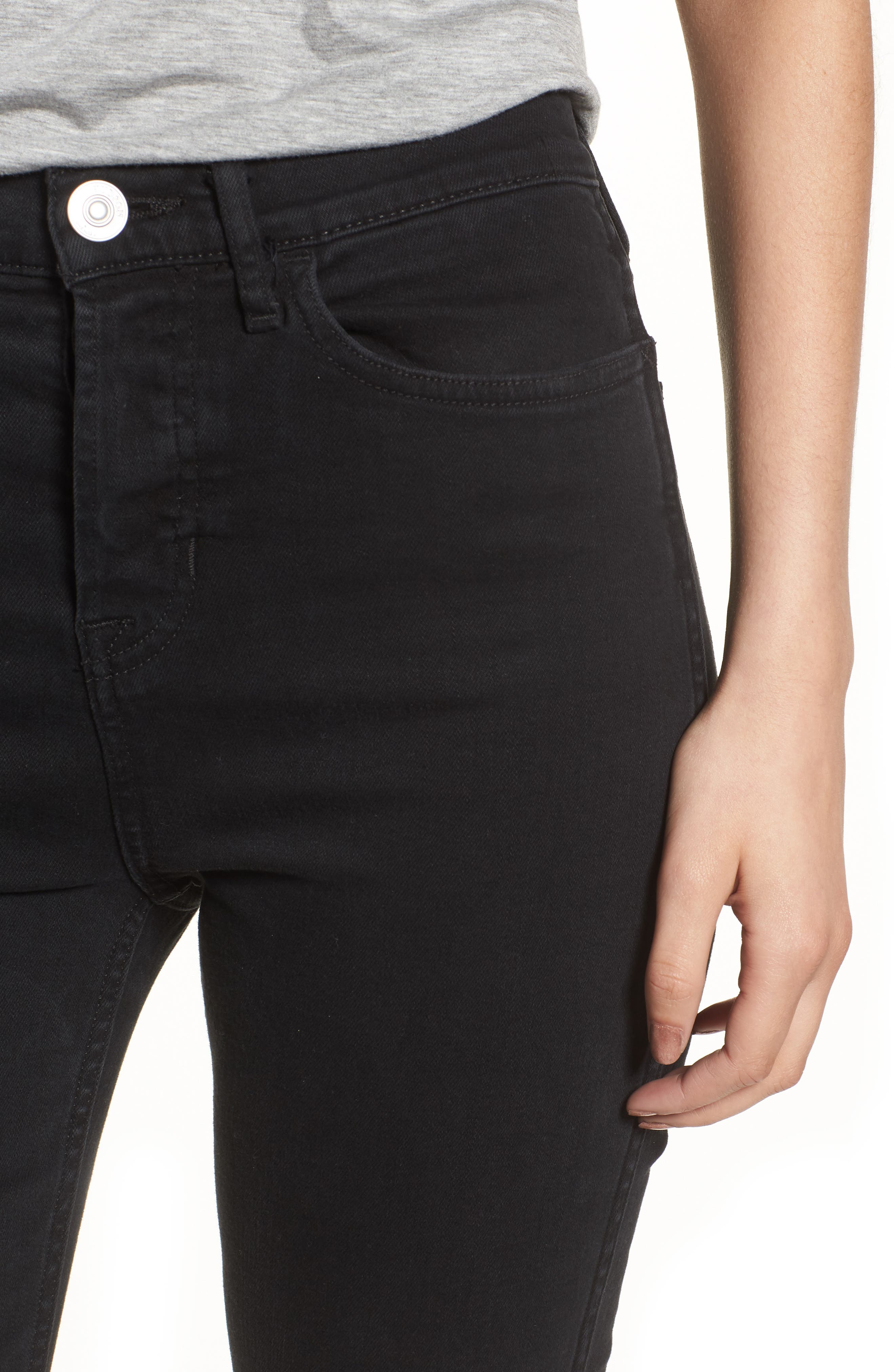 Holly High Waist Crop Flare Jeans,                             Alternate thumbnail 4, color,                             001