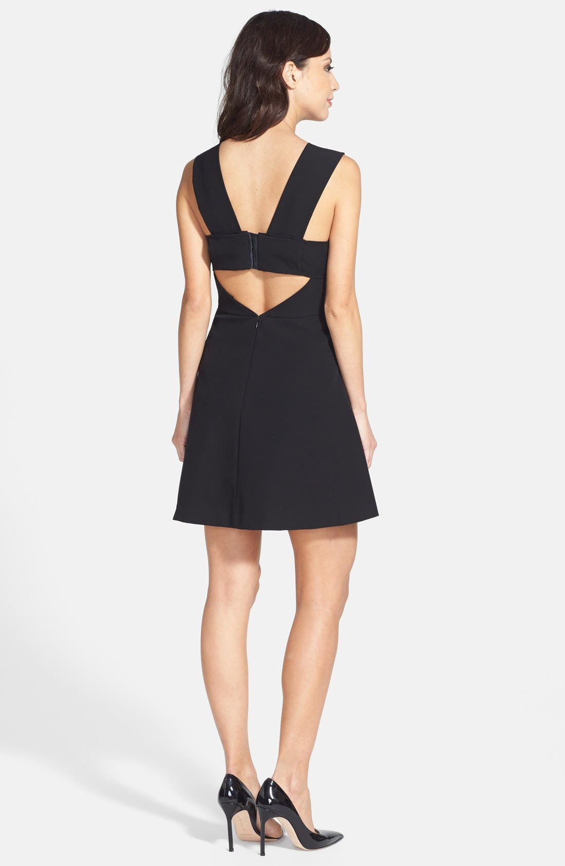 Bianca Back Cutout Fit & Flare Dress,                             Alternate thumbnail 8, color,                             001