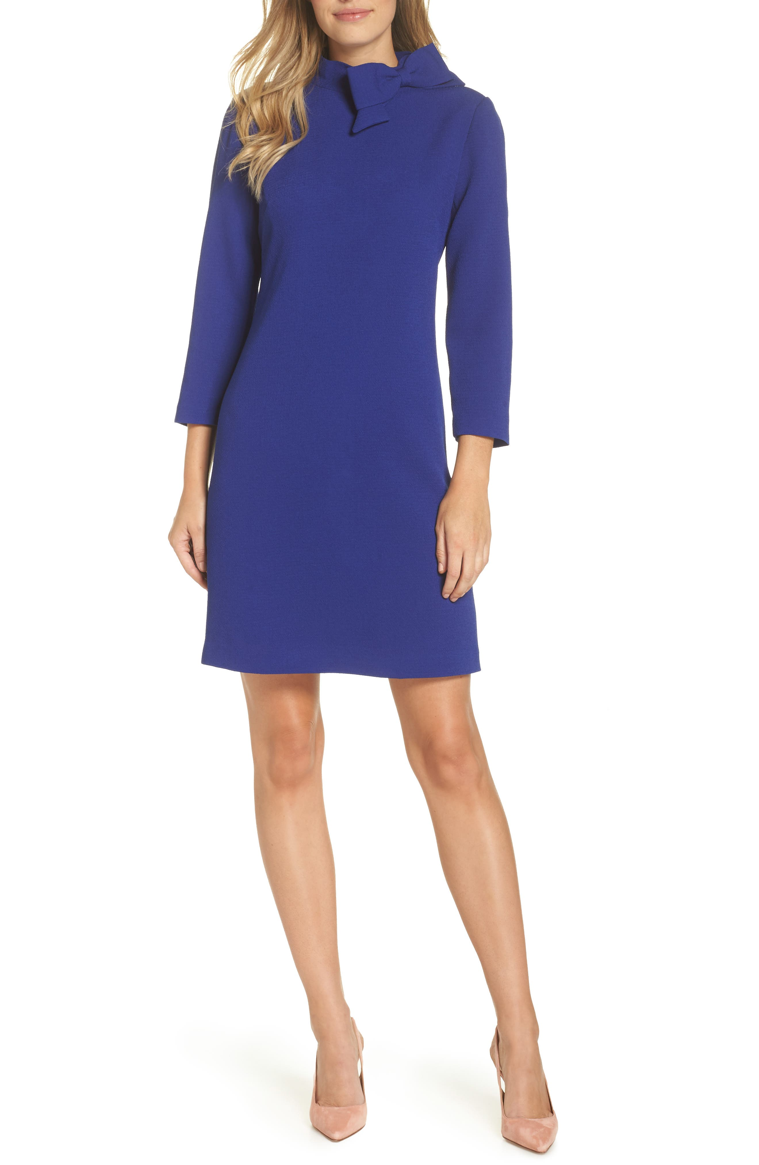 Eliza J Bow Neck Crepe Shift Dress, Blue