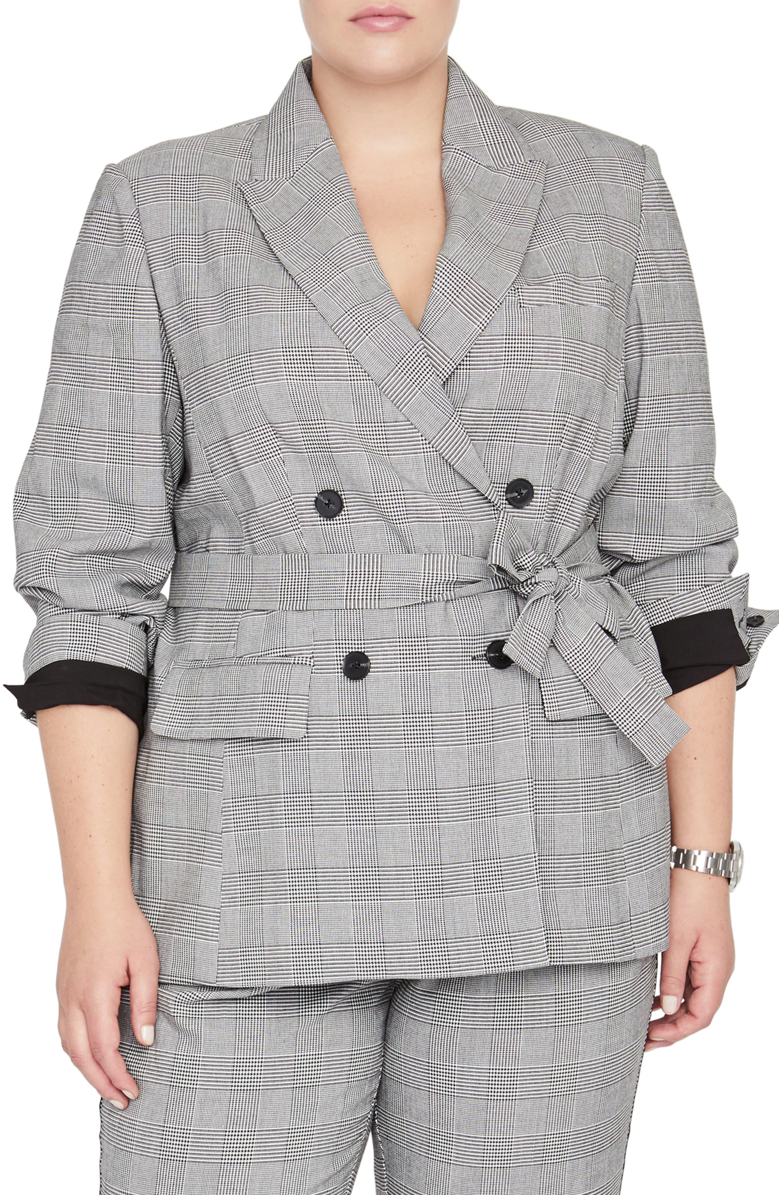 Rachel Roy Windowpane Plaid Tie Front Blazer, Main, color, 020