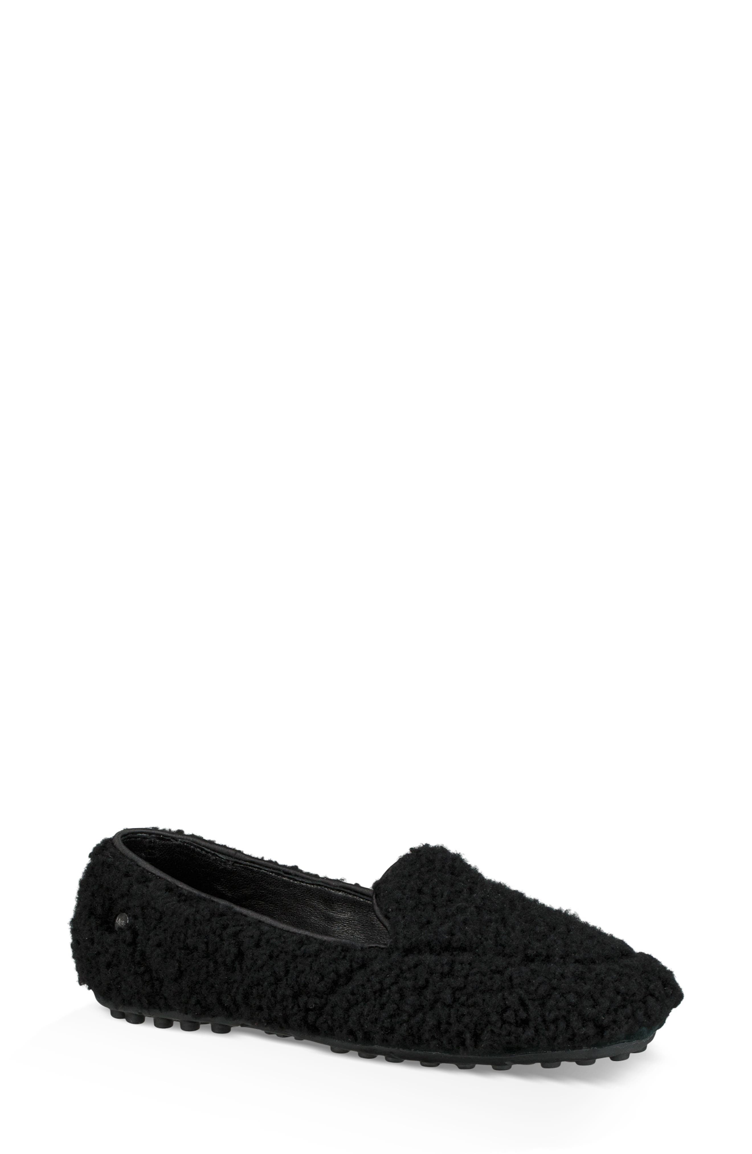 Hailey Fluff Genuine Shearling Slipper,                             Main thumbnail 1, color,                             BLACK