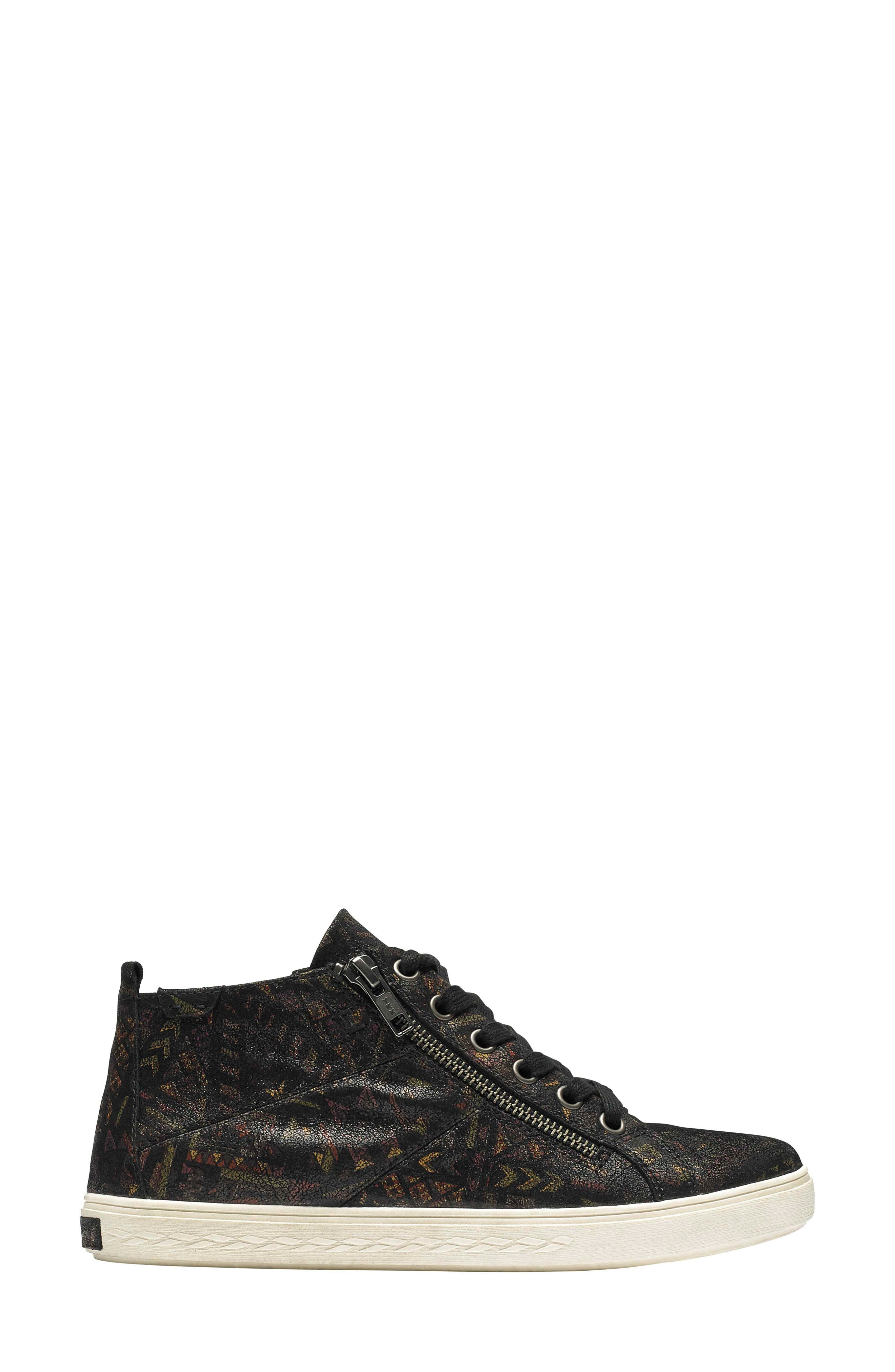Willa High Top Sneaker,                             Alternate thumbnail 3, color,                             NOVELTY PRINT LEATHER