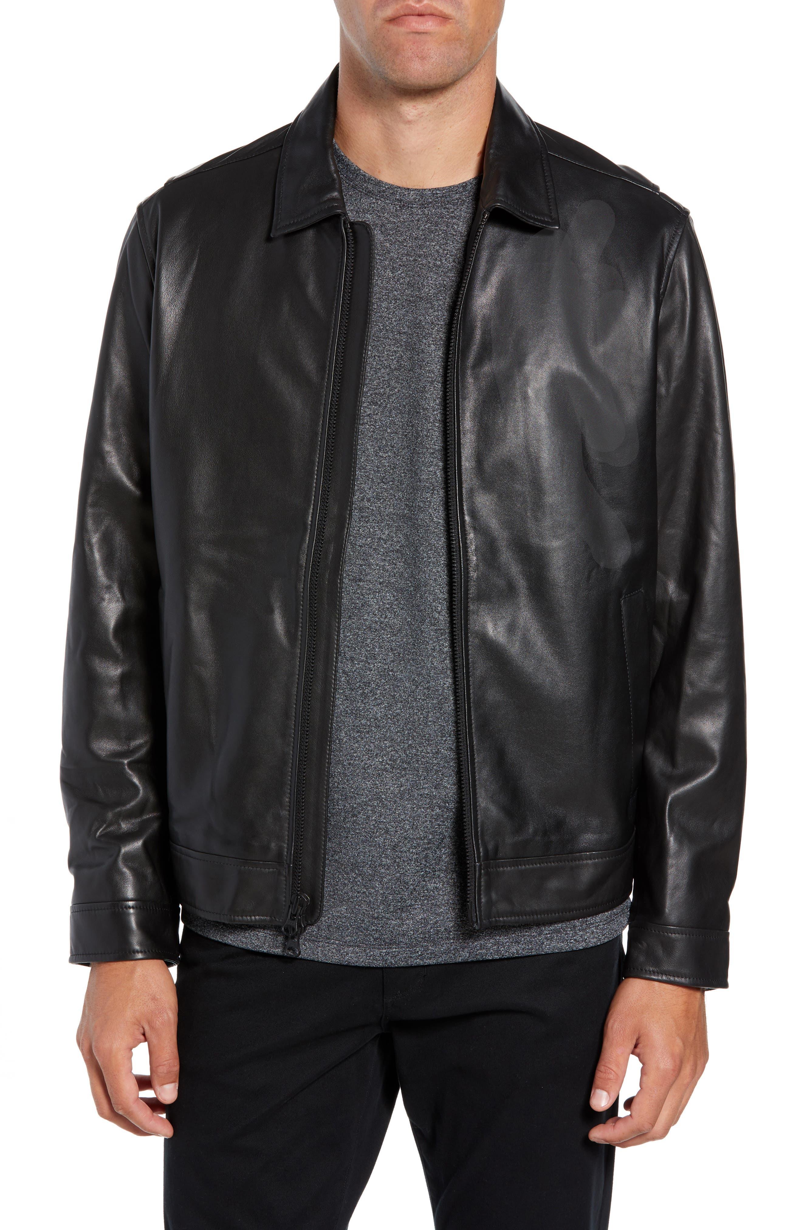Leather Jacket,                         Main,                         color, BLACK