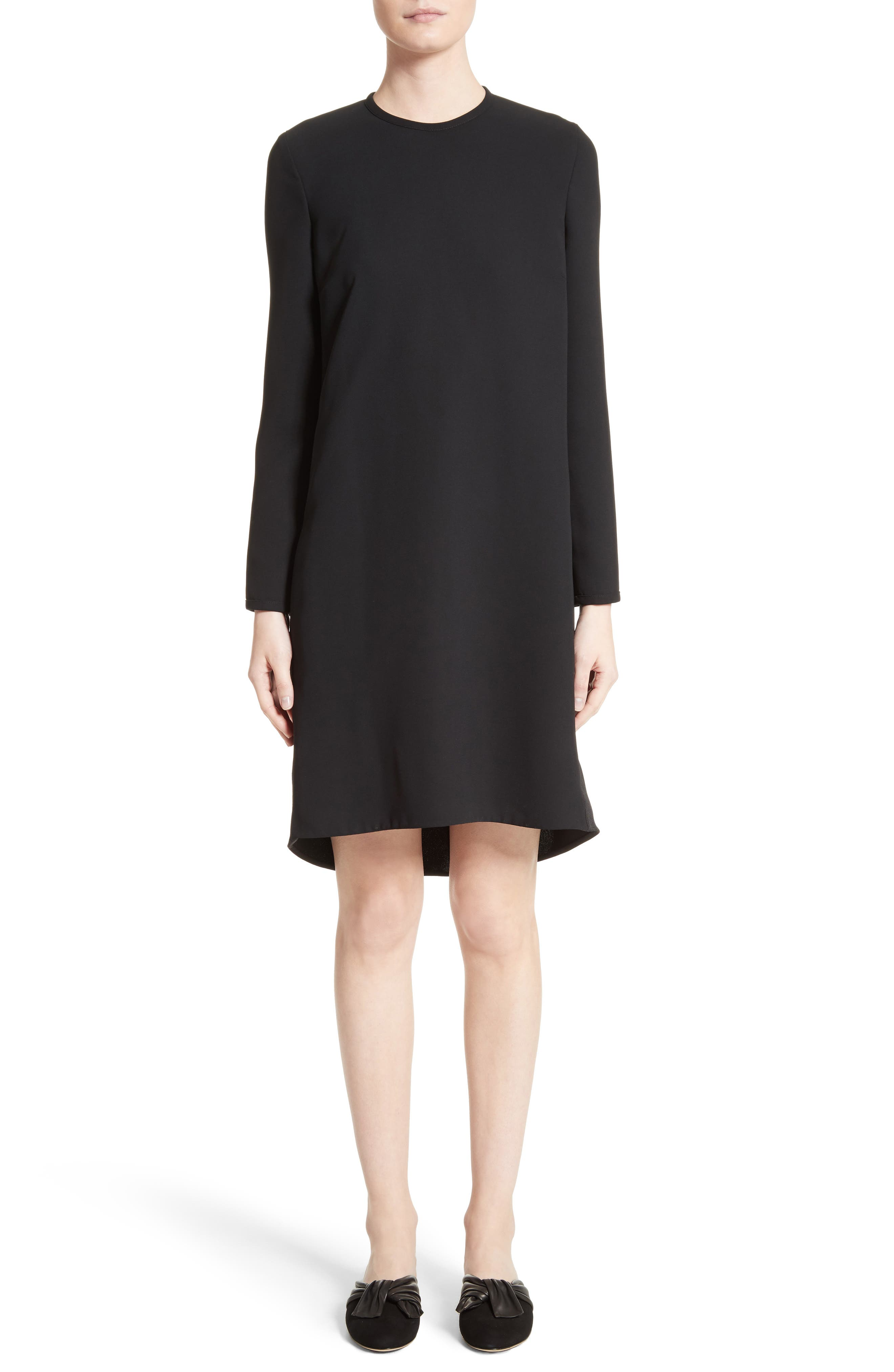 Gathered Open Back Shift Dress,                         Main,                         color, 001