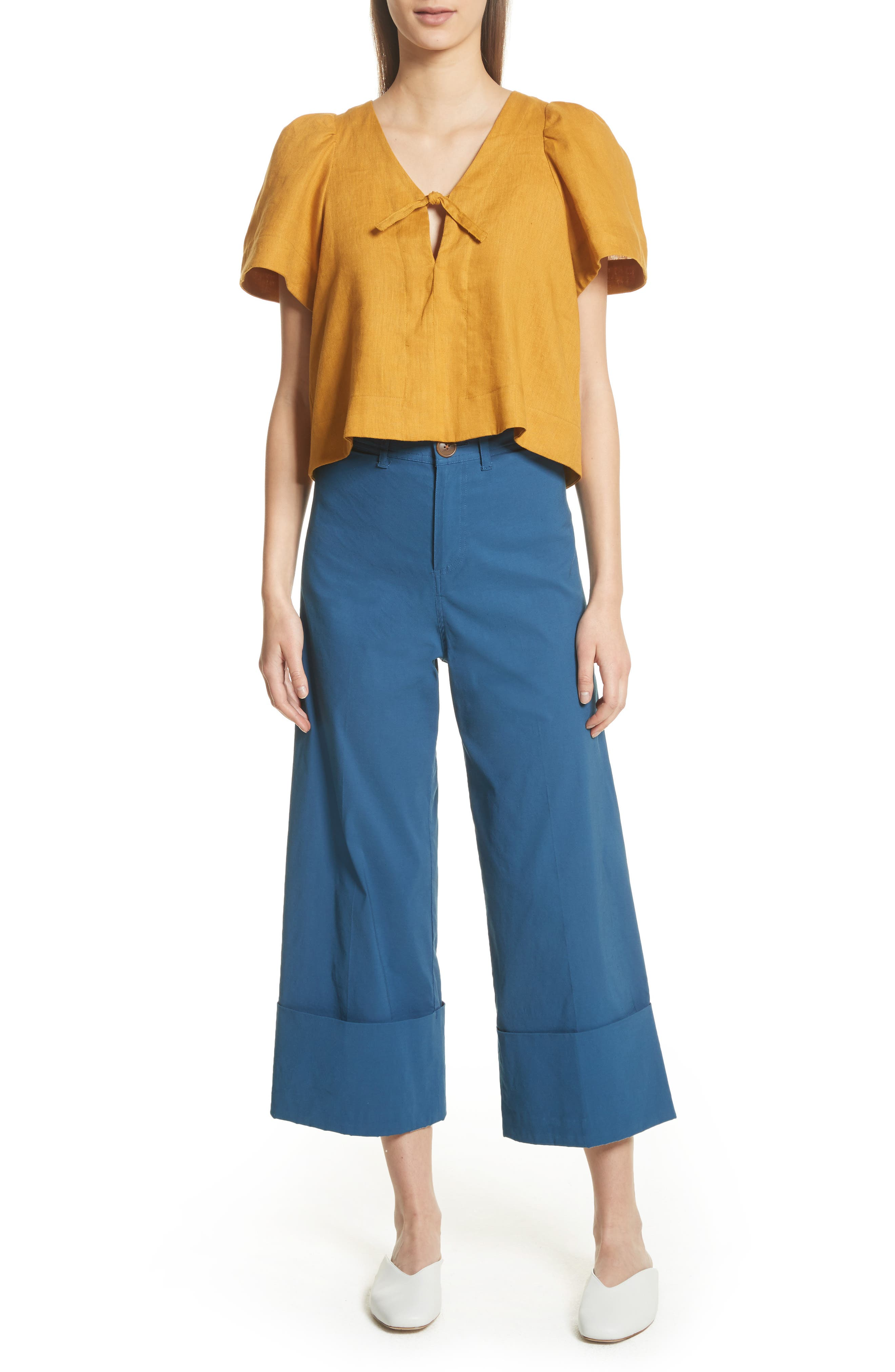Winona Cuff Wide Leg Pants,                             Alternate thumbnail 7, color,                             400