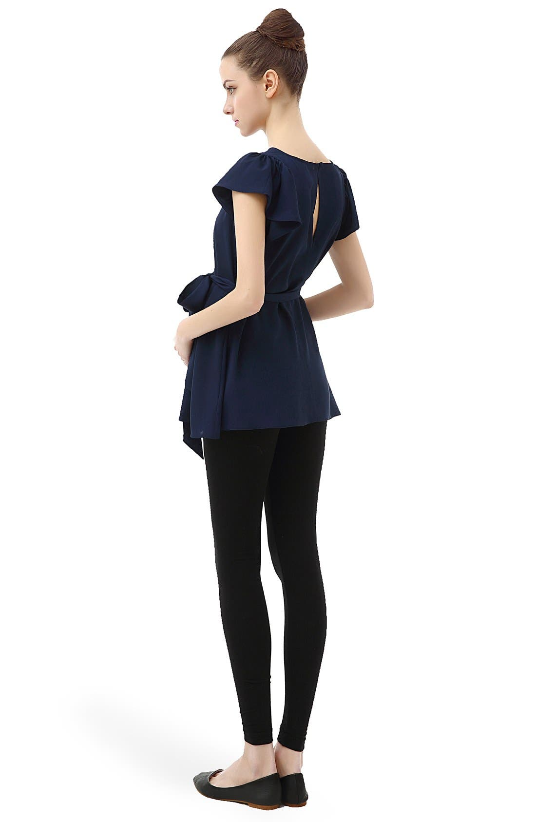 'Quinn' Flutter Sleeve Belted Maternity Top,                             Alternate thumbnail 7, color,
