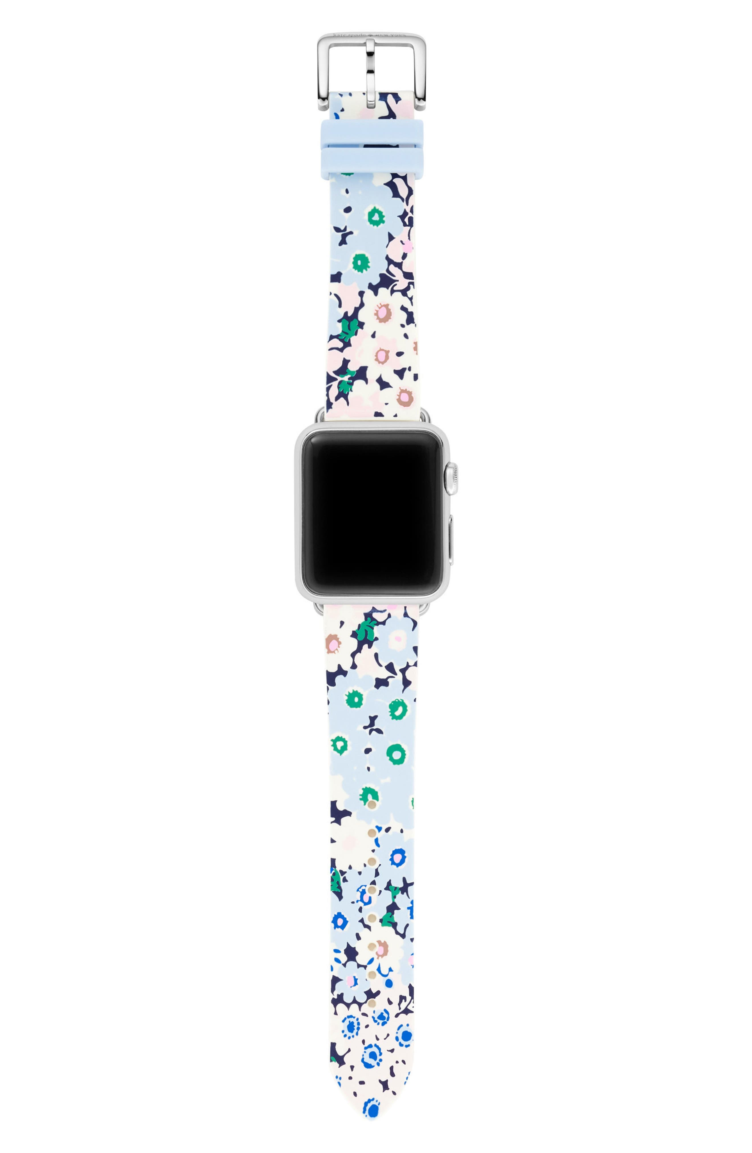 Apple<sup>®</sup> watch strap, 25mm,                             Alternate thumbnail 3, color,                             BLUE/ GREEN/ PINK/ WHITE