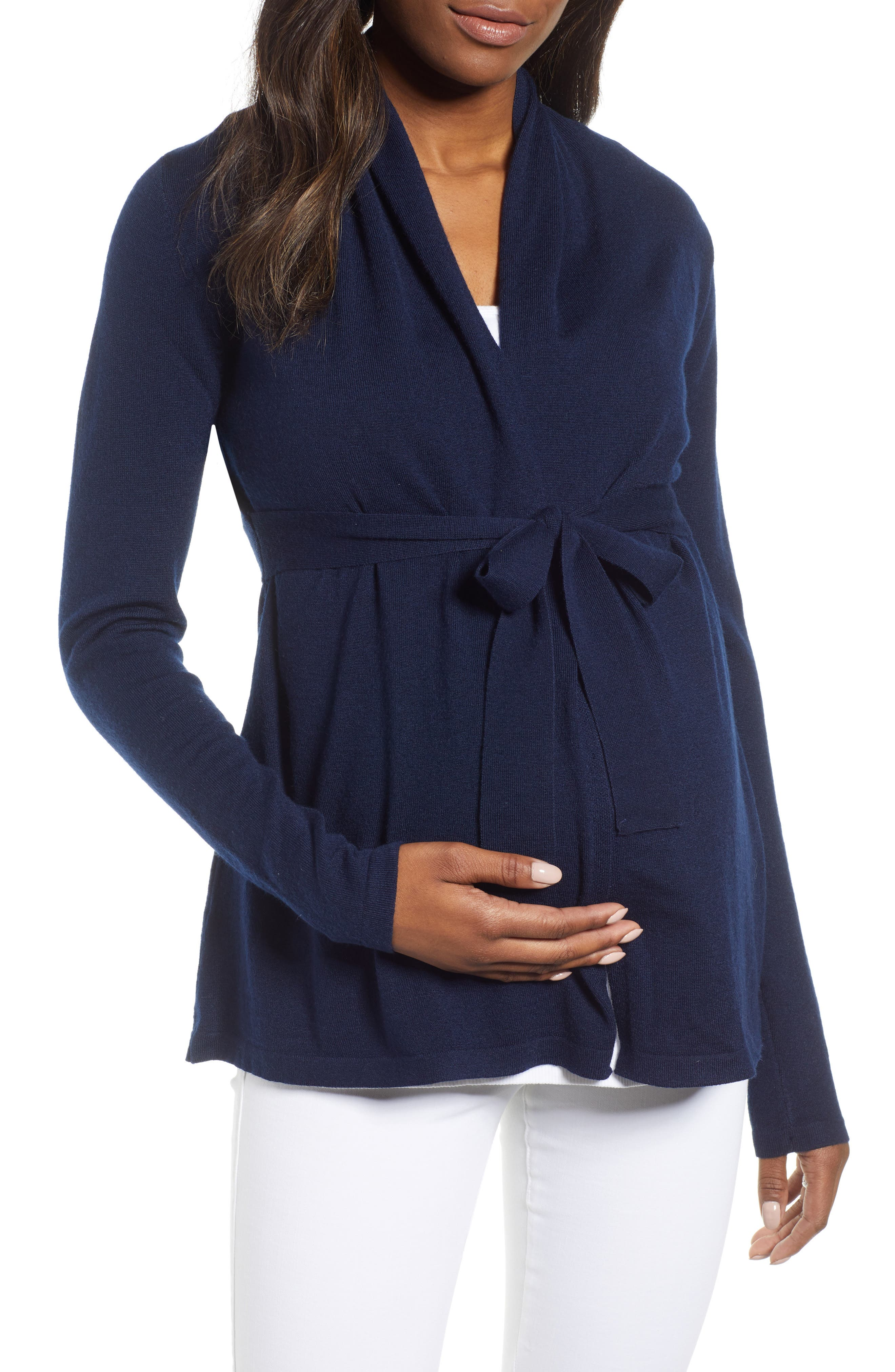 Angel Maternity Wool Blend Maternity Cardigan, Blue