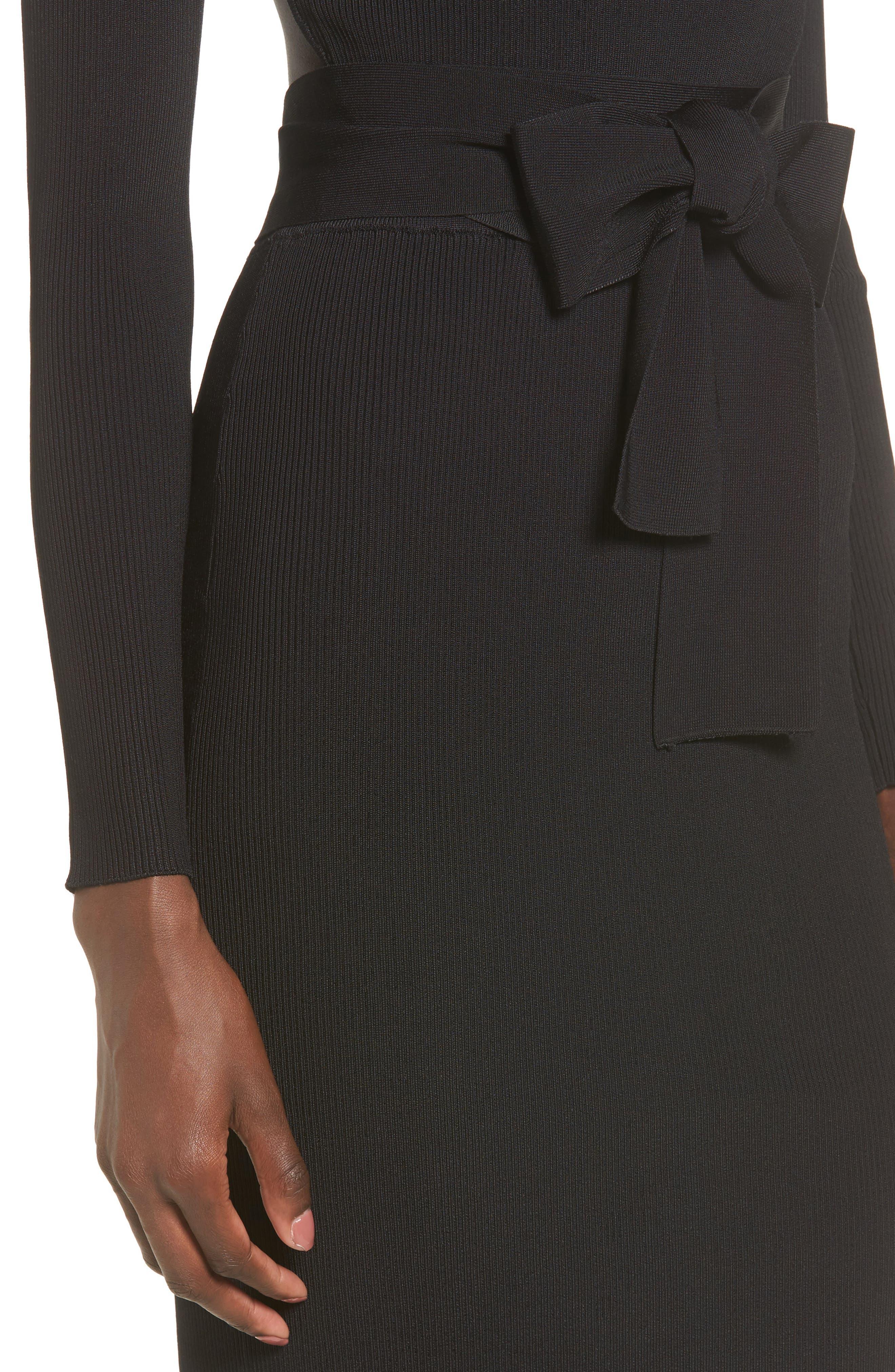 Desiree Cutout Ribbed Body-Con Dress,                             Alternate thumbnail 4, color,                             001