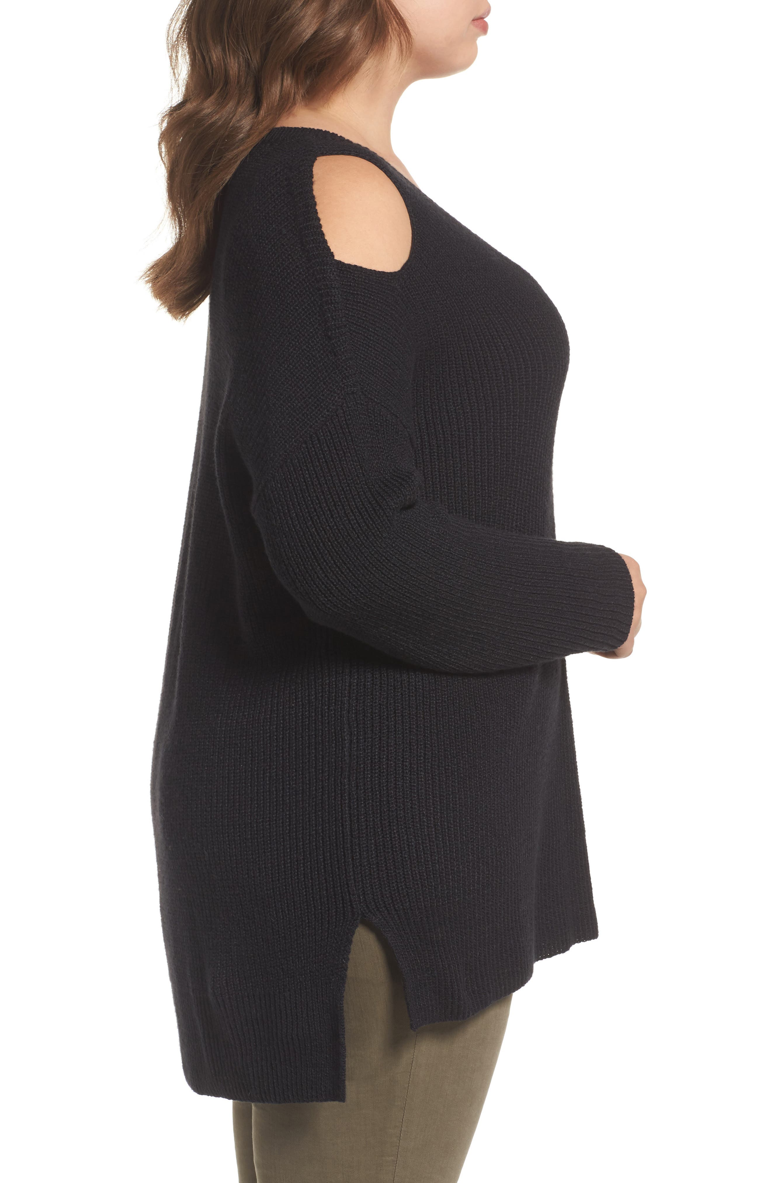 Cold Shoulder Tunic Sweater,                             Alternate thumbnail 3, color,                             001