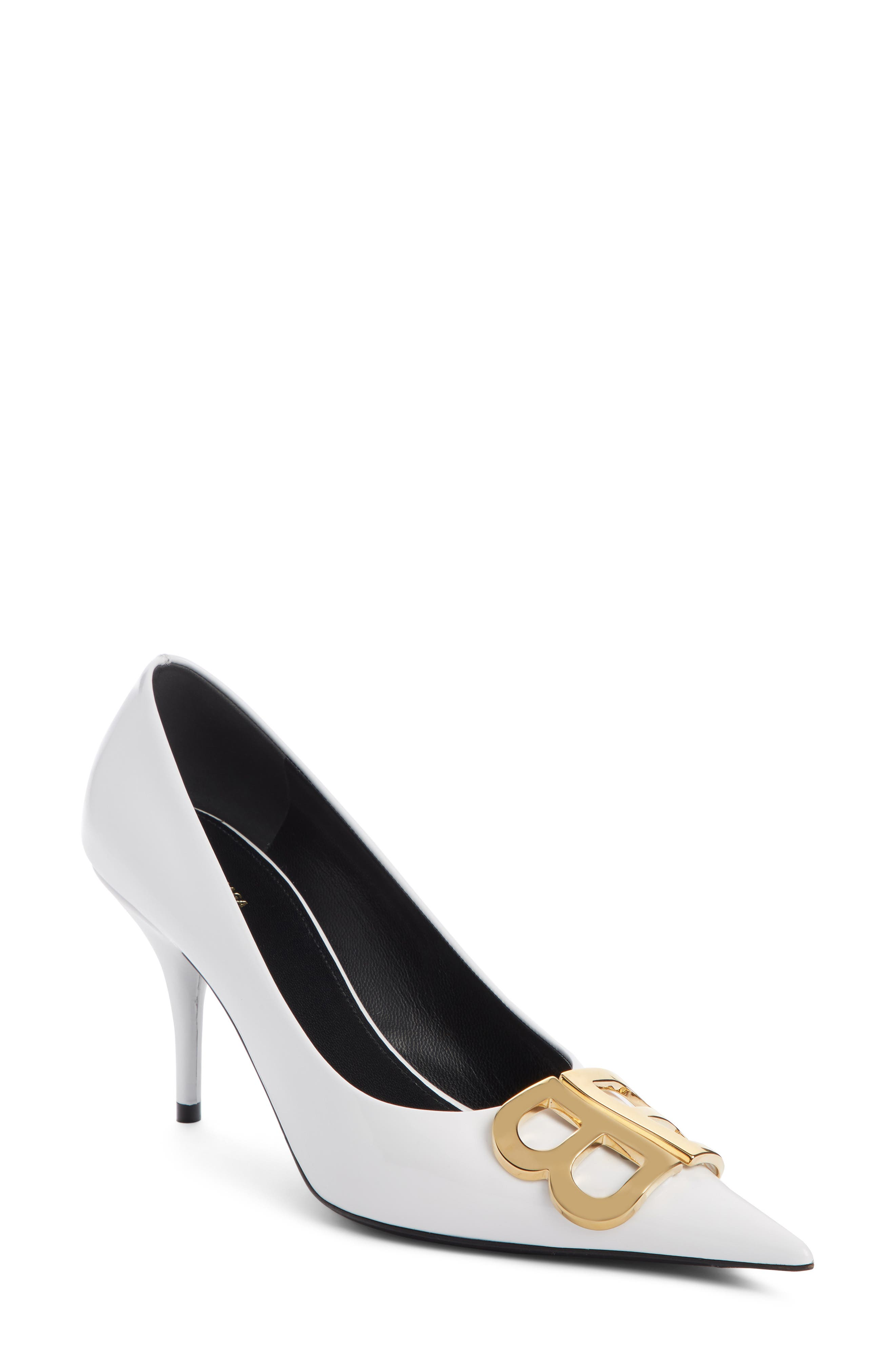 BB Pointy Toe Pump,                             Main thumbnail 1, color,                             WHITE PATENT