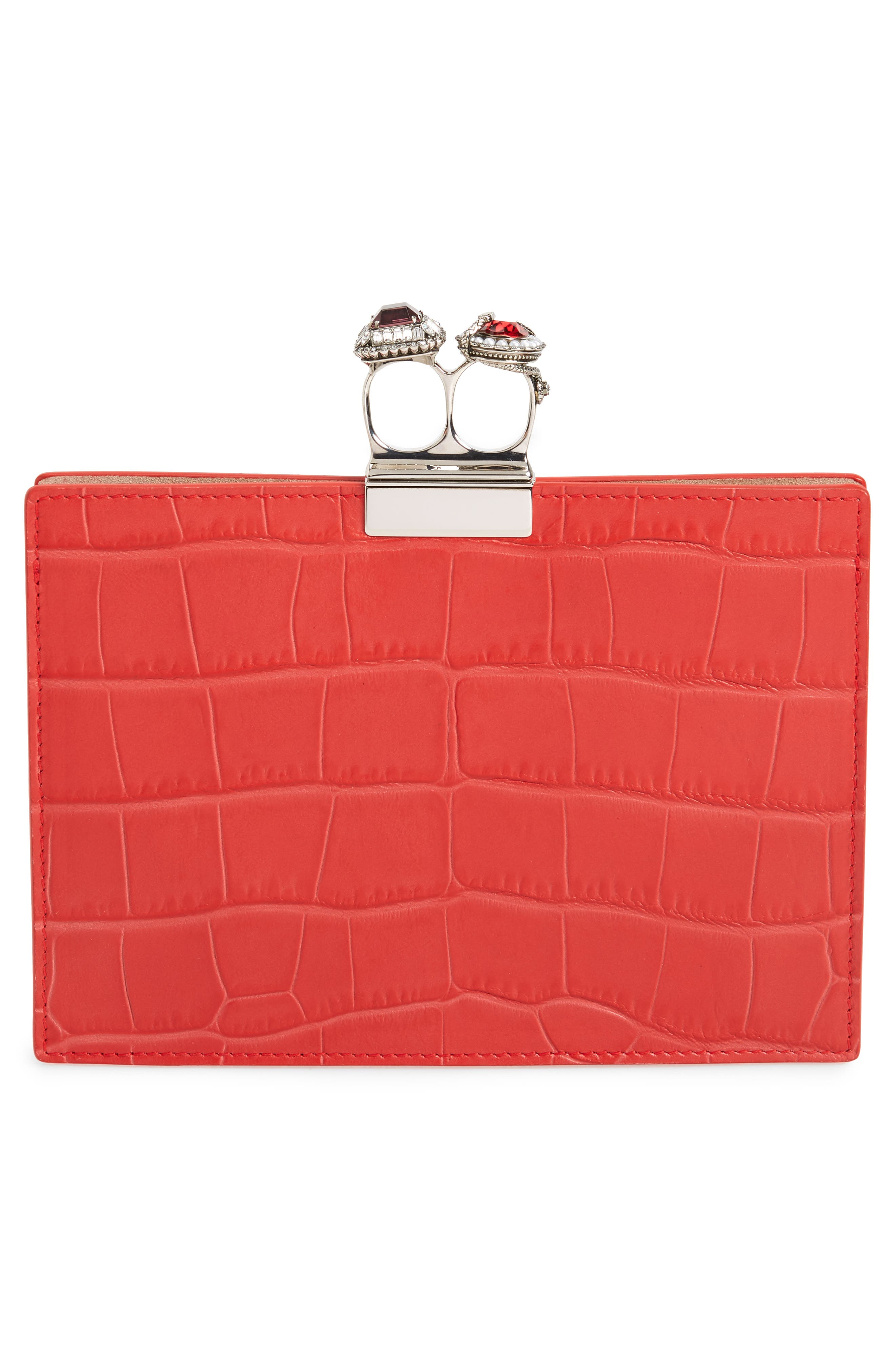 Croc Embossed Calfskin Leather Double Ring Clutch,                             Alternate thumbnail 3, color,                             LUST RED