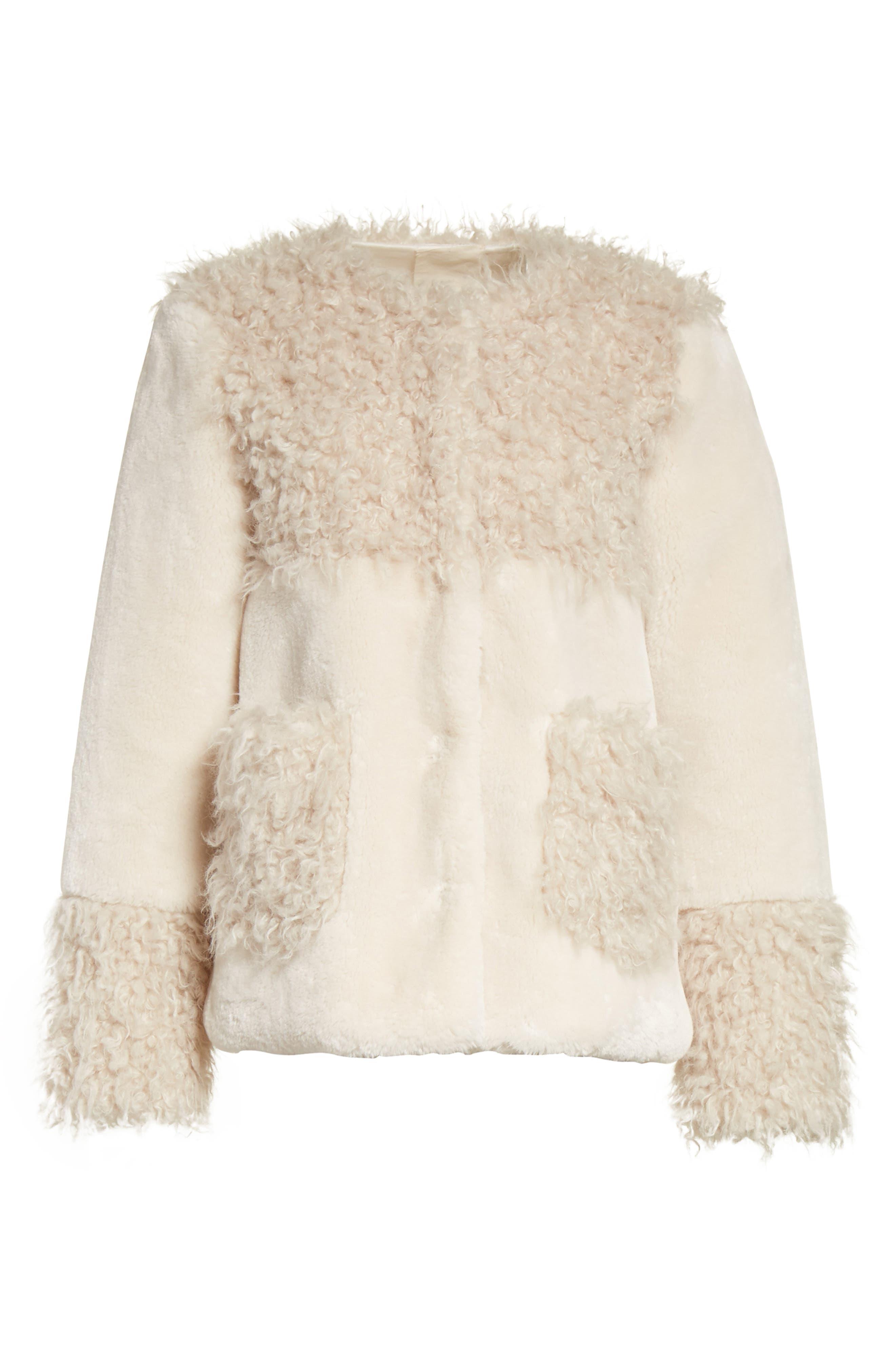Mixed Faux Fur Coat,                             Alternate thumbnail 5, color,                             905