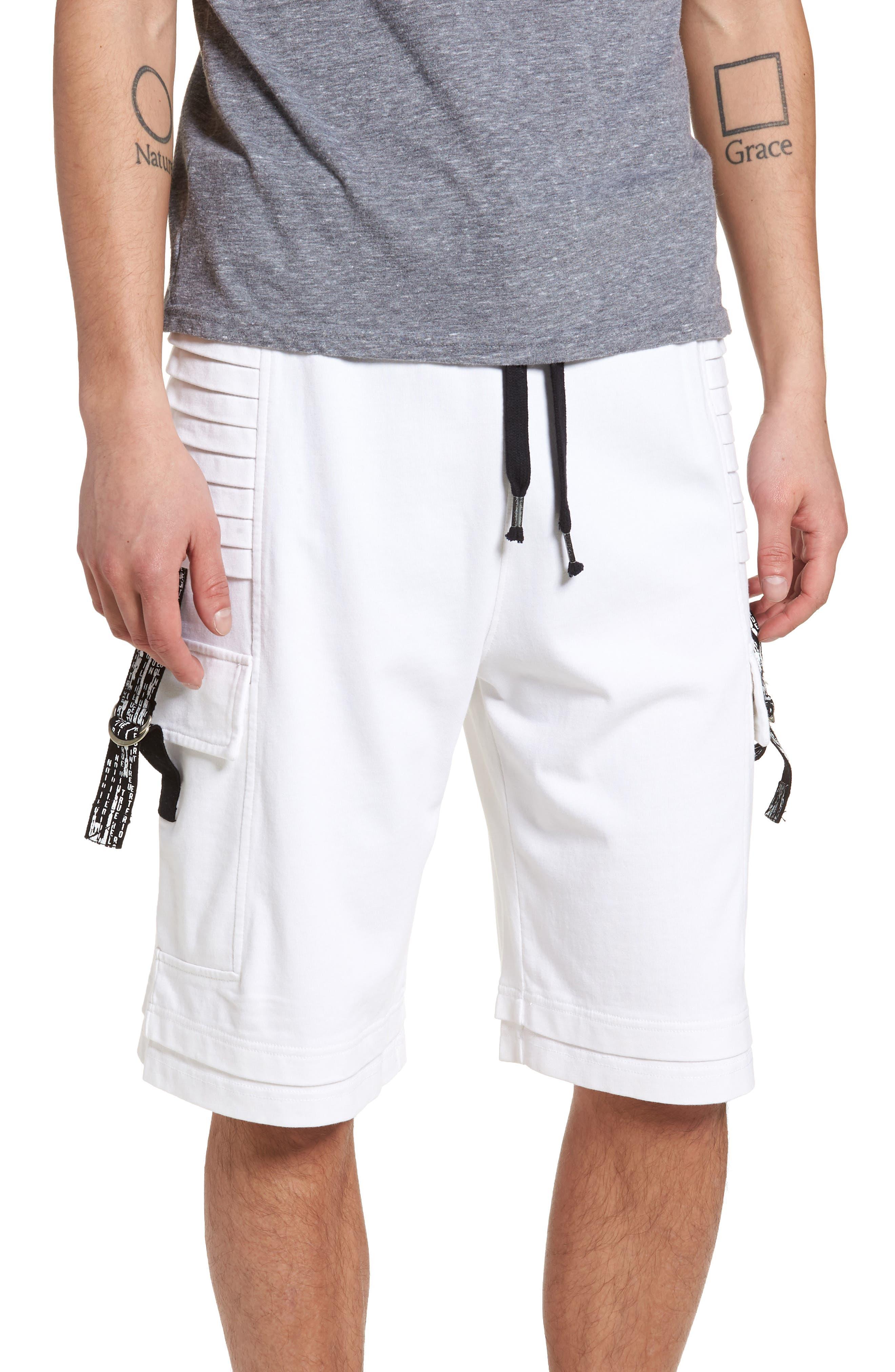 Moto Shorts,                         Main,                         color, WHITE
