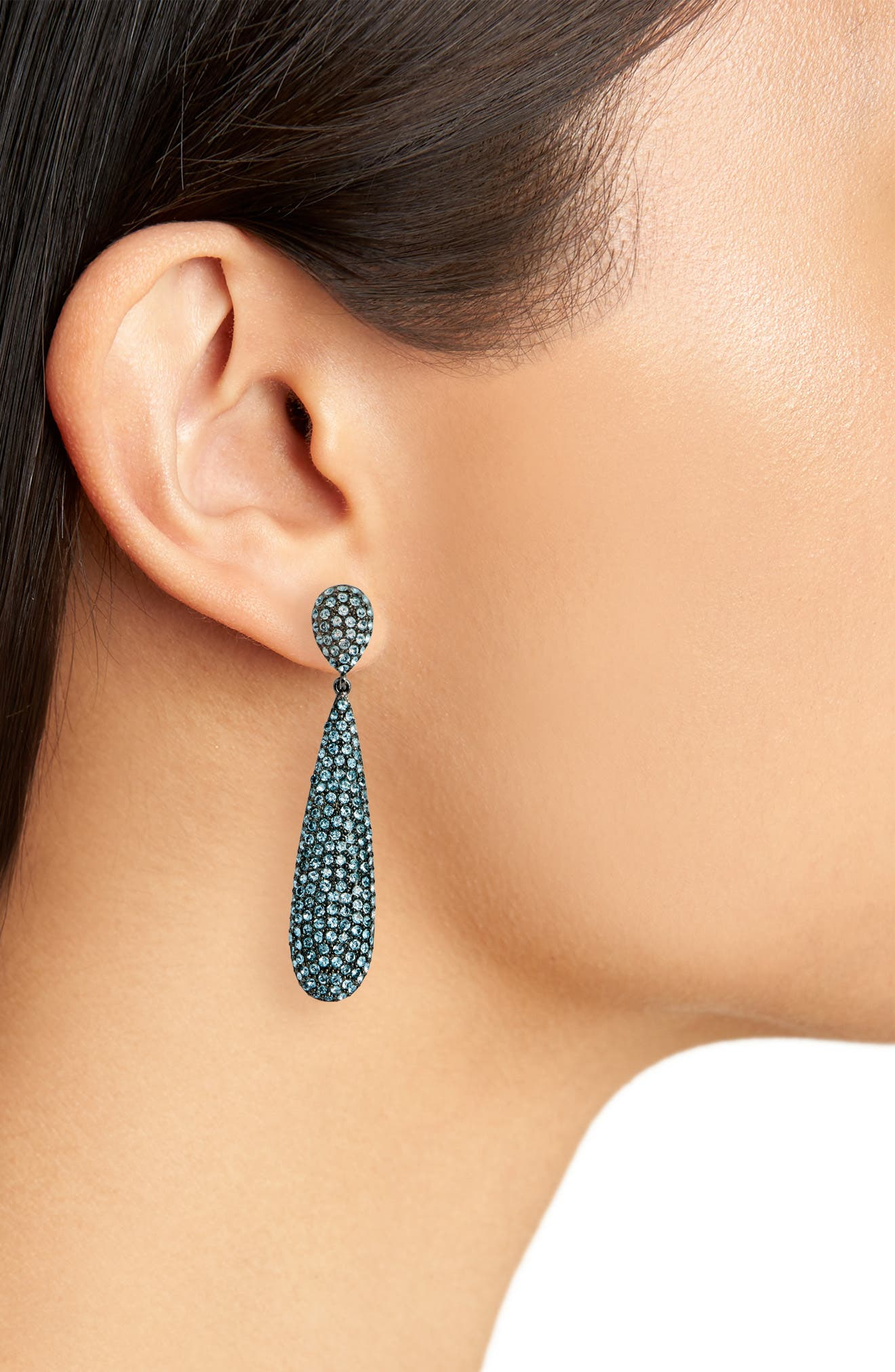 Elongated Pavé Swarovski Crystal Teardrop Earrings,                             Alternate thumbnail 2, color,                             AQUAMARINE/ BLACK SILVER