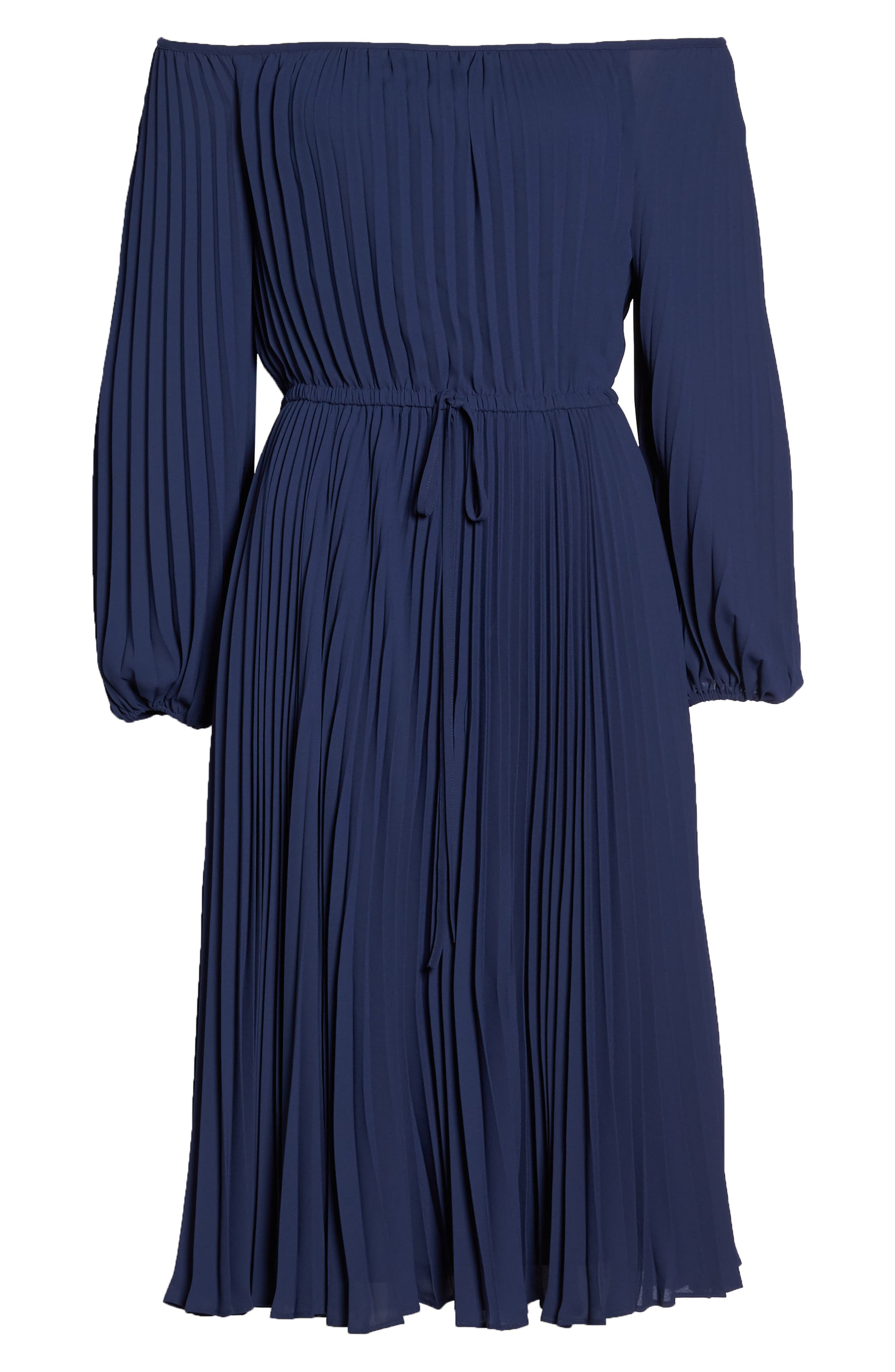 Elise Off the Shoulder Pleated Georgette Dress,                             Alternate thumbnail 7, color,                             NAVY W/ SELF PIPING