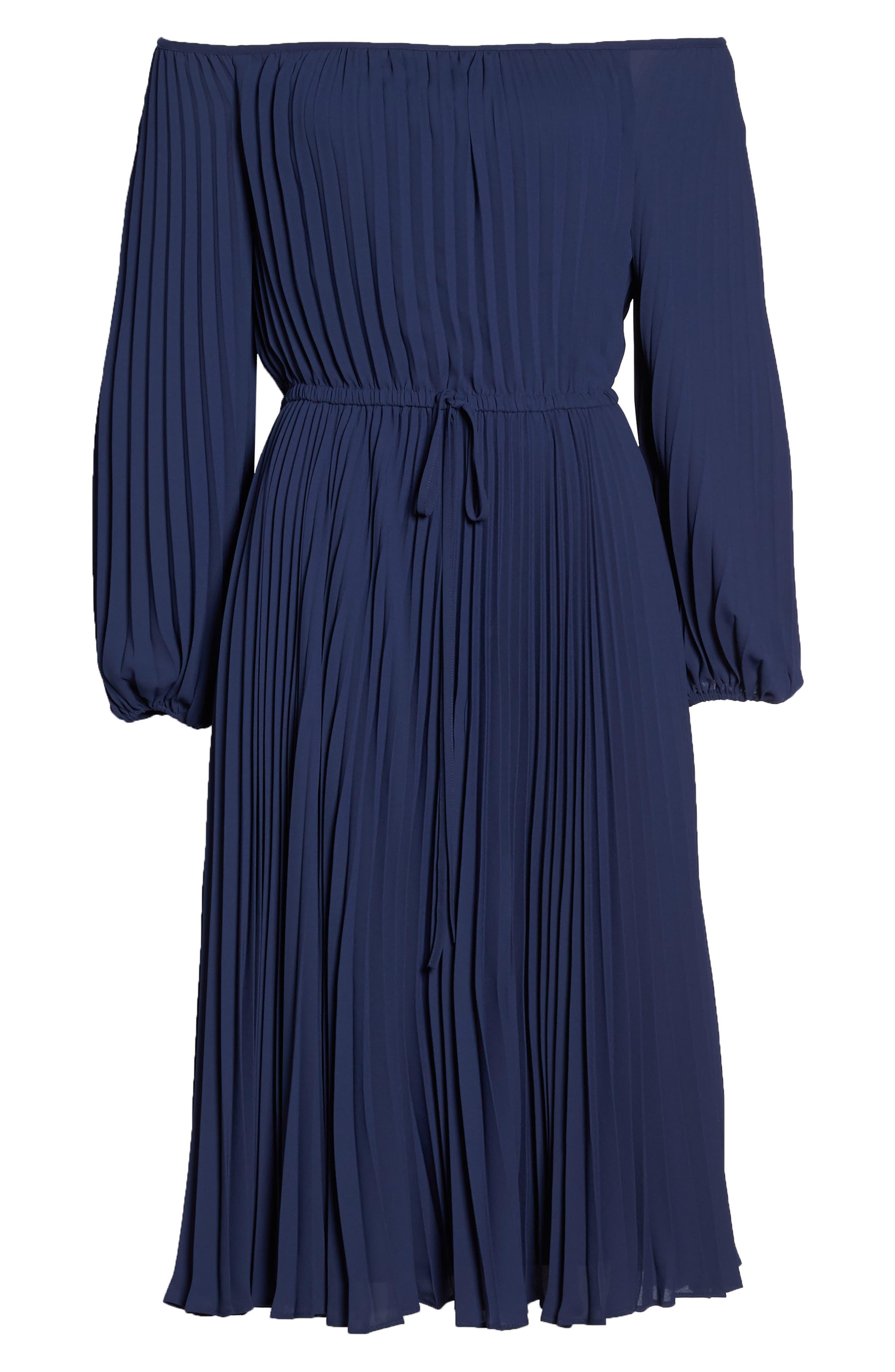 Elise Off the Shoulder Pleated Georgette Dress,                             Alternate thumbnail 7, color,                             462