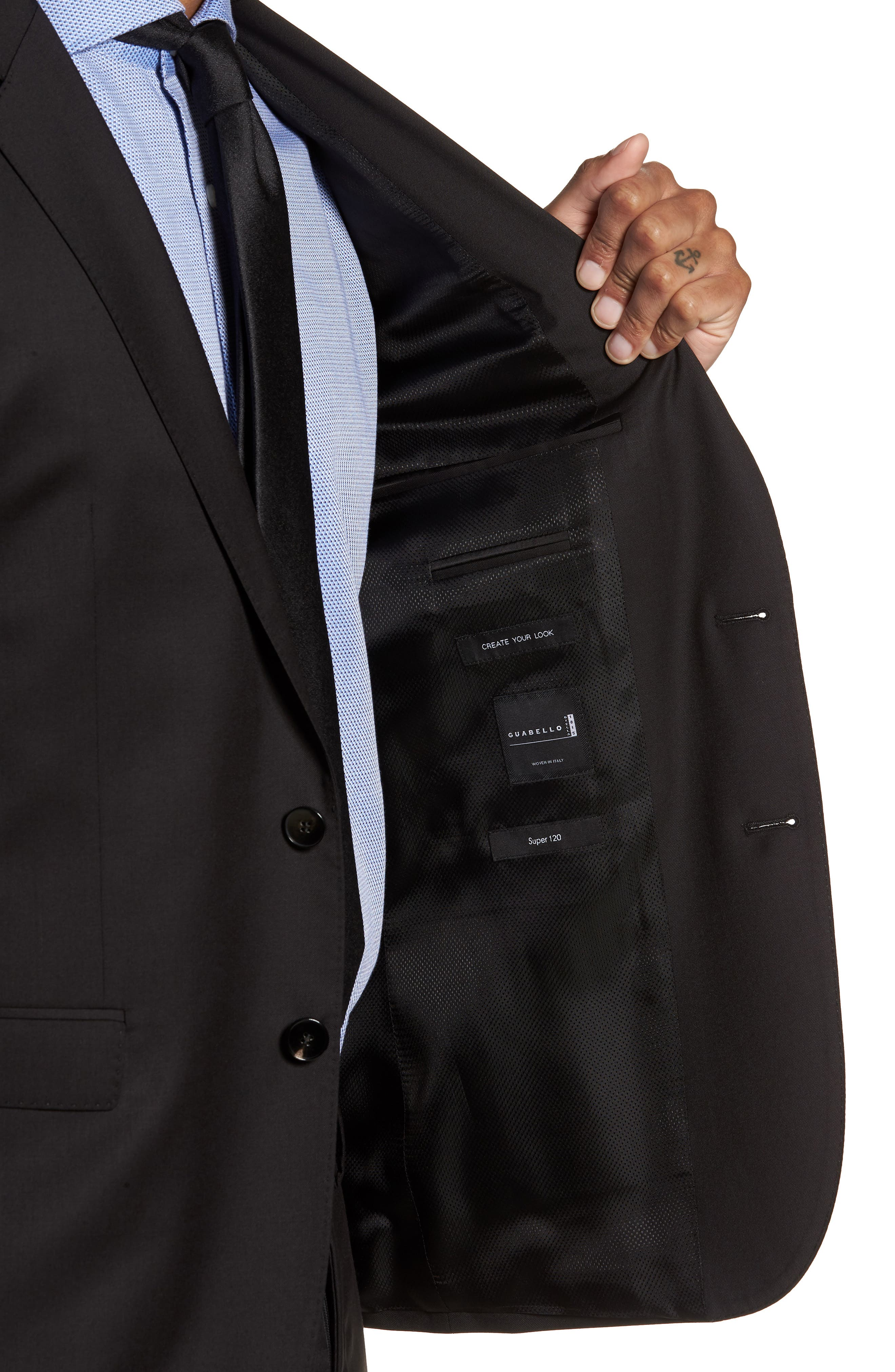 Ryan CYL Extra Trim Fit Solid Wool Sport Coat,                             Alternate thumbnail 4, color,                             BLACK