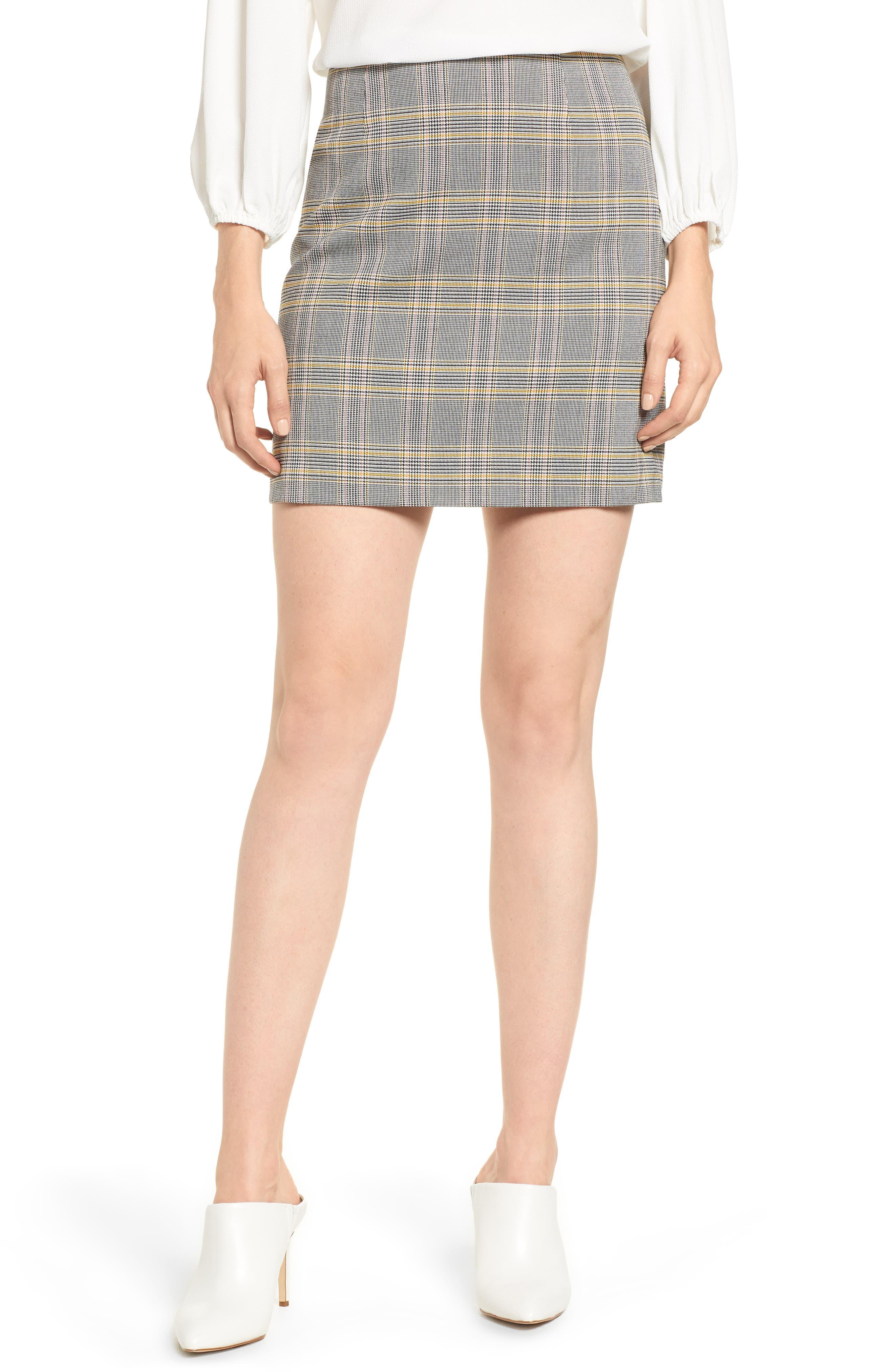 1.state Menswear Plaid Miniskirt